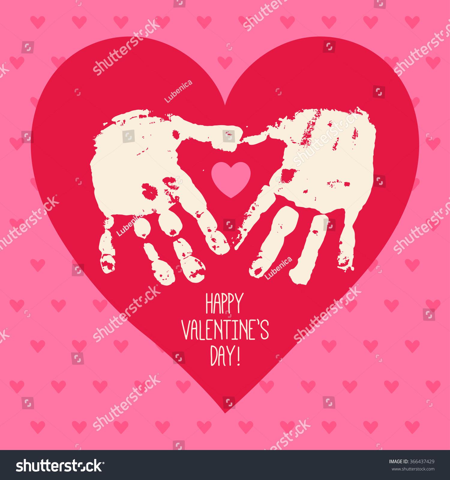 Happy Valentines Day Card Design Handprint Vector 366437429 – Children Valentines Day Cards