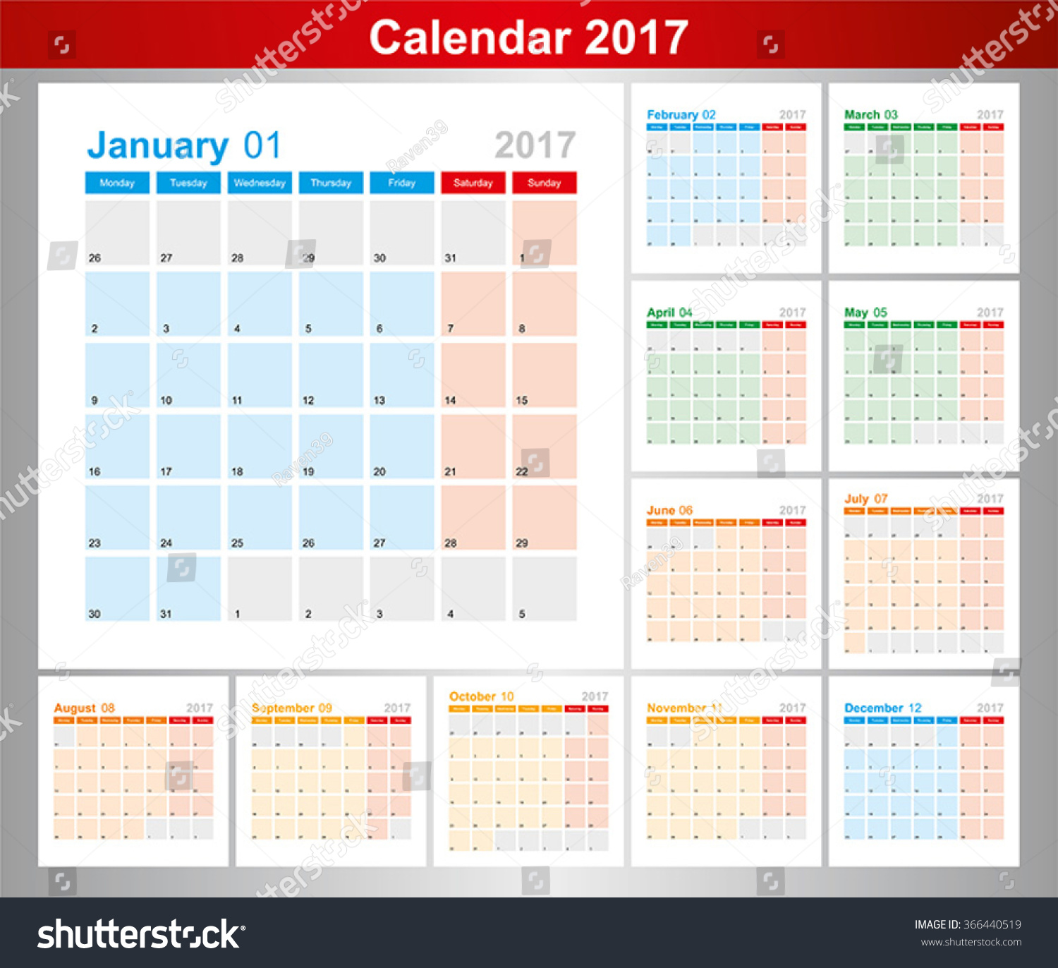 October 2017 Calendar Starting Monday