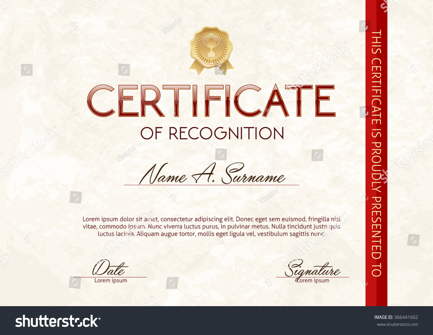 Certificate recognition template stock vector 366441602 shutterstock certificate of recognition template yelopaper Image collections