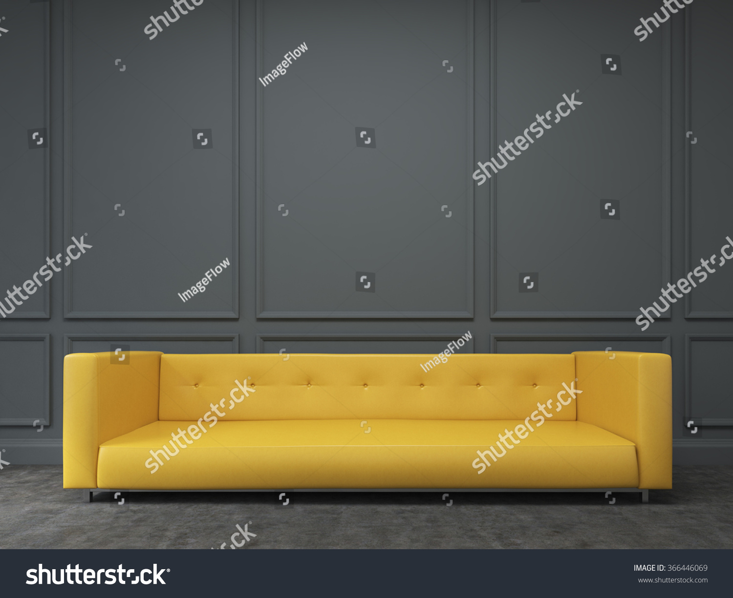 Long Yellow Sofa Standing Black Wall Stock Illustration 366446069 ...