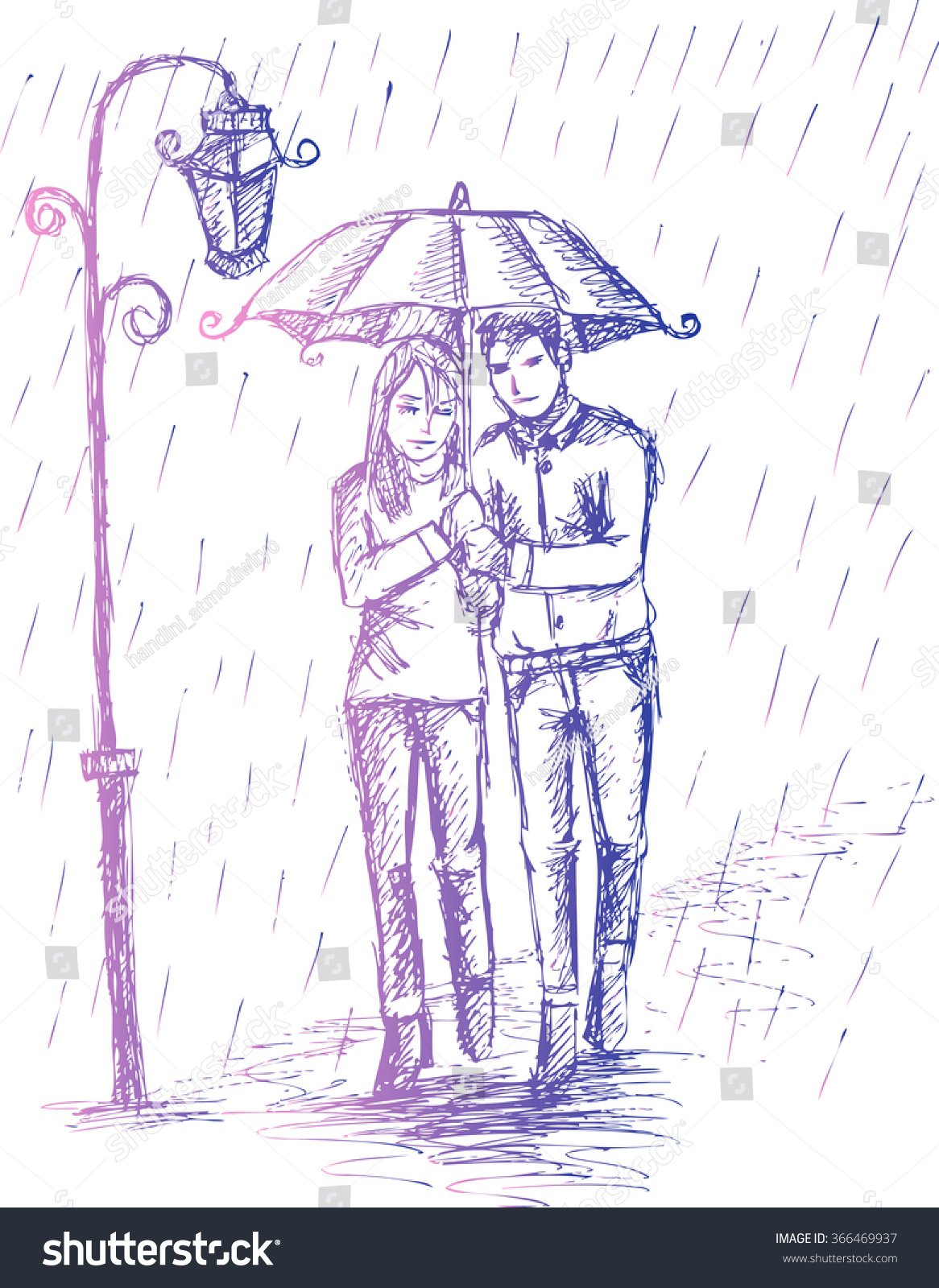 Couple under an umbrella in the rain hand drawing illustration