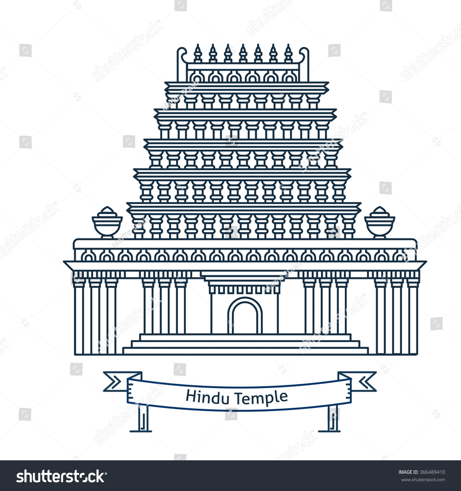 Hindu temple hinduism symbol indian temple stock vector 366489410 hindu temple hinduism symbol indian temple flat line vector architecture illustration outlined biocorpaavc Gallery