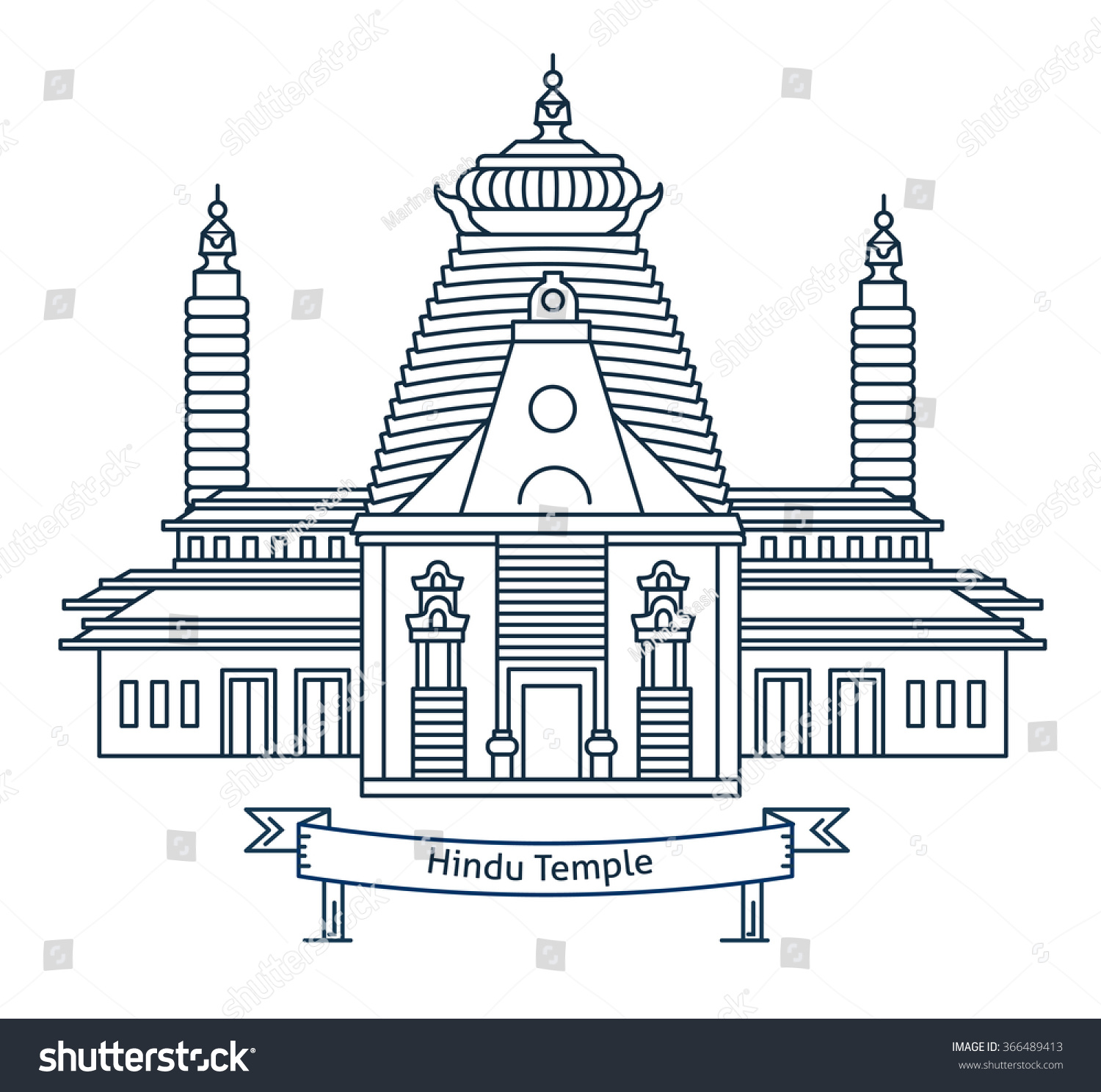 Hindu temple hinduism symbol indian temple stock vector 366489413 hindu temple hinduism symbol indian temple flat line vector architecture illustration outlined biocorpaavc Gallery
