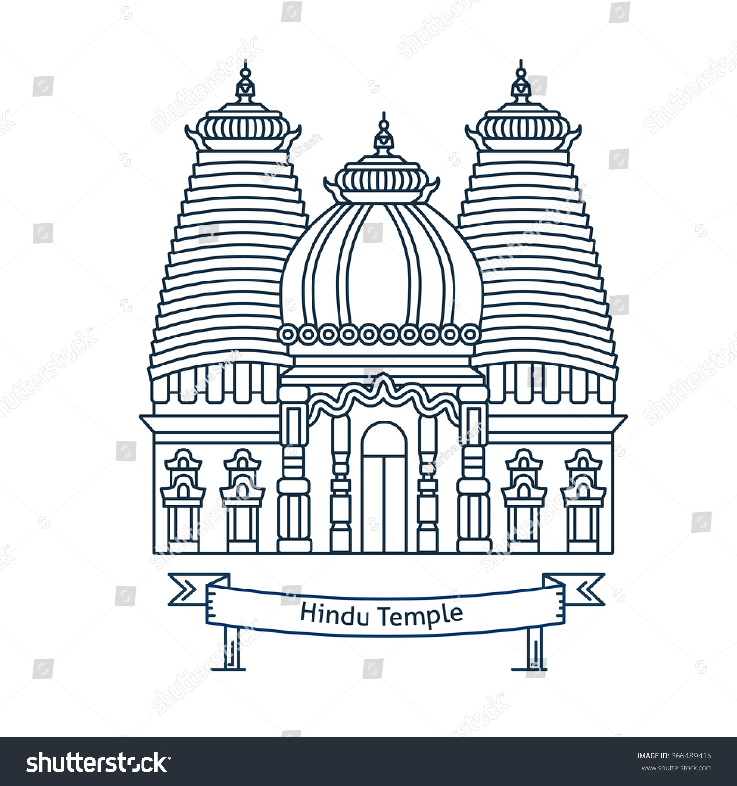Hindu temple hinduism symbol indian temple stock vector 366489416 hindu temple hinduism symbol indian temple flat line vector architecture illustration outlined biocorpaavc Gallery