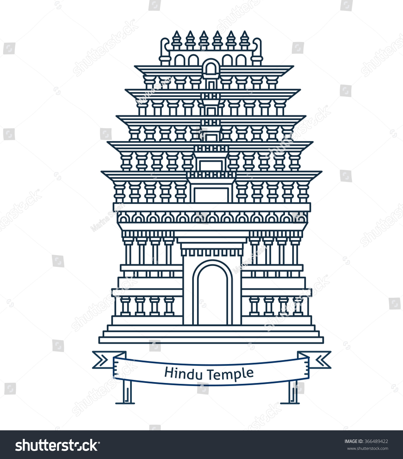 Hindu temple hinduism symbol indian temple stock vector 366489422 hindu temple hinduism symbol indian temple flat line vector architecture illustration outlined biocorpaavc Gallery