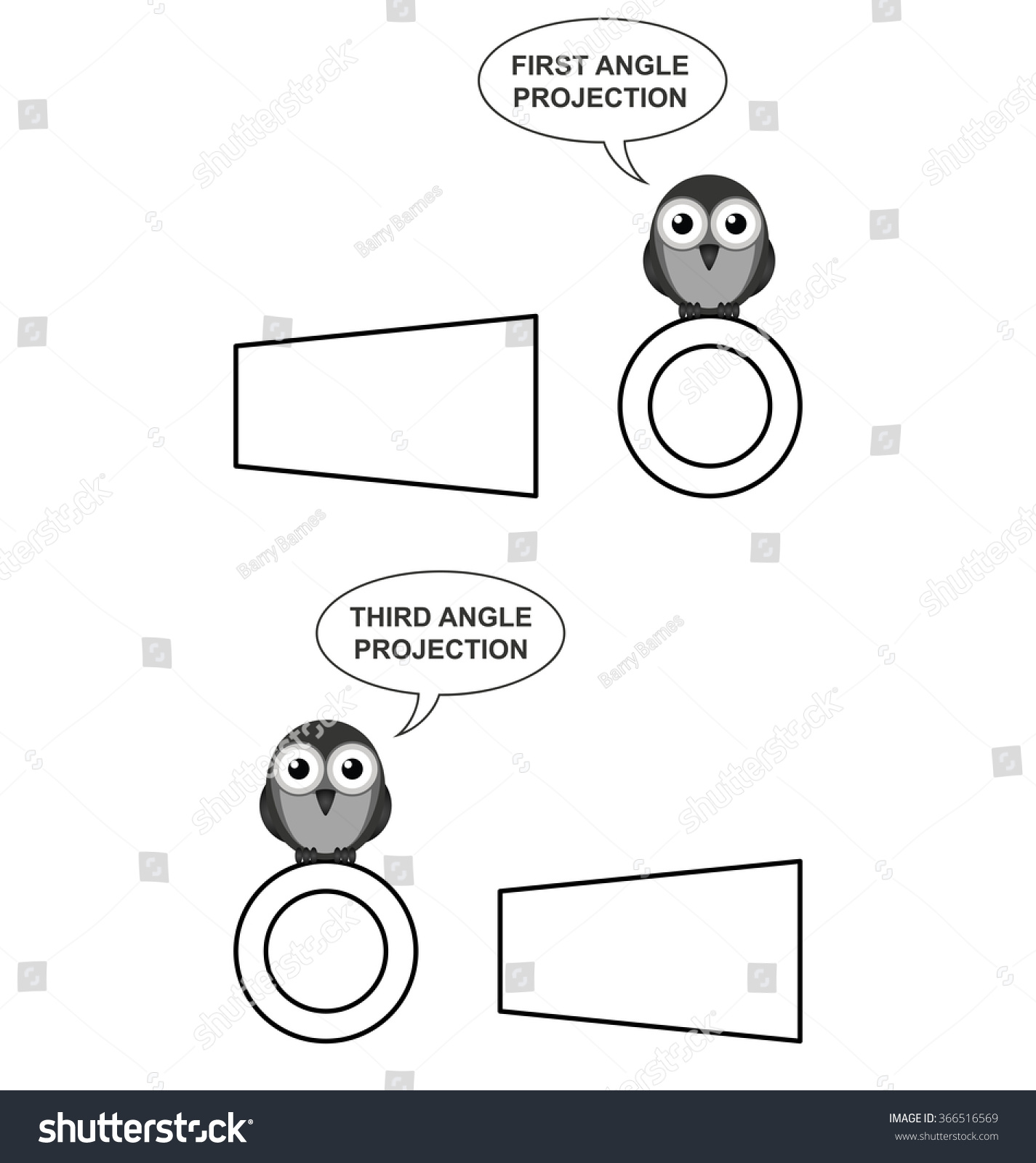 Example Third Angle Orthographic Projection Using Stock Vector