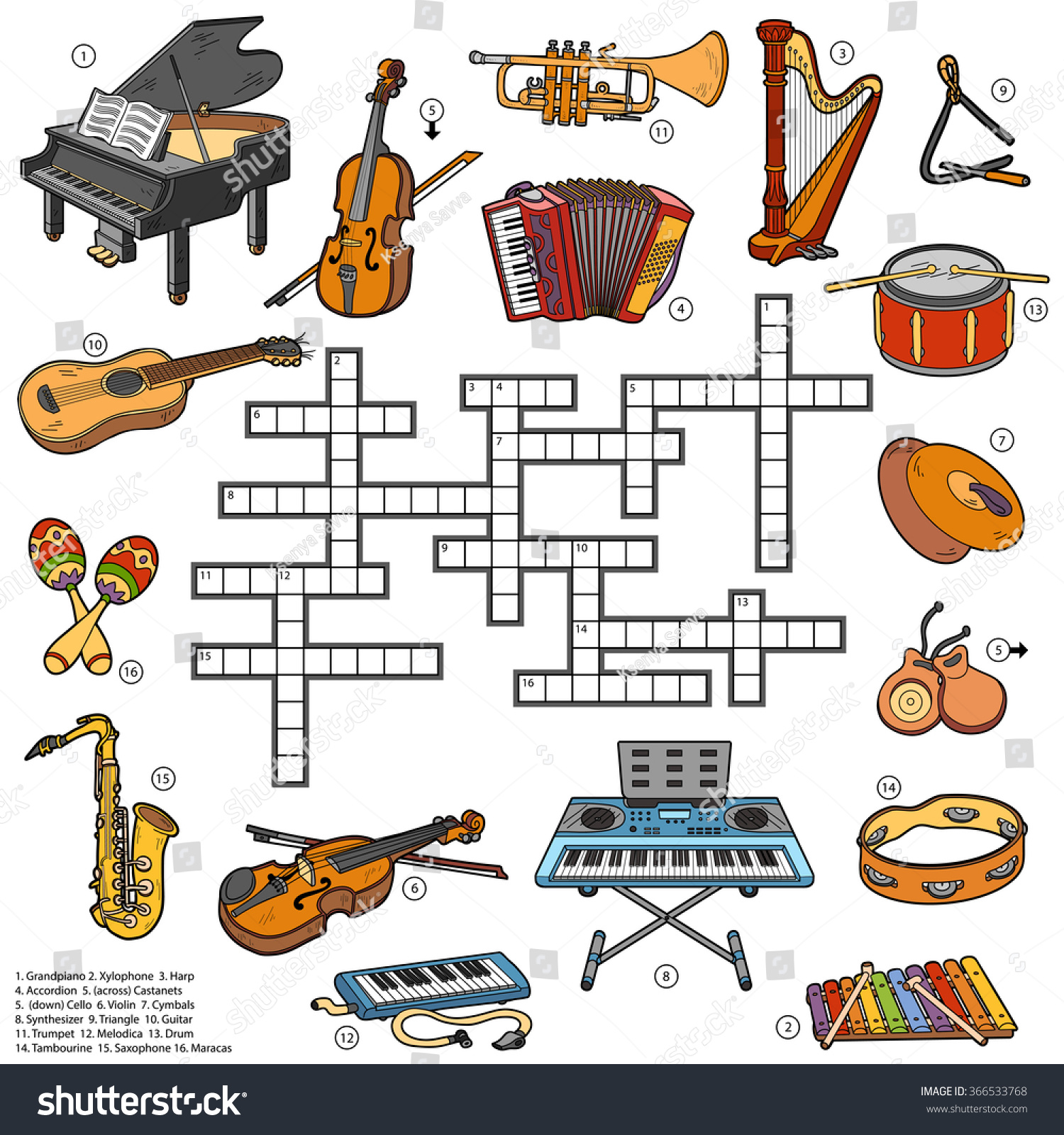 Game with shapes of different colors crossword - Color Crossword Education Game For Children About Music Instruments