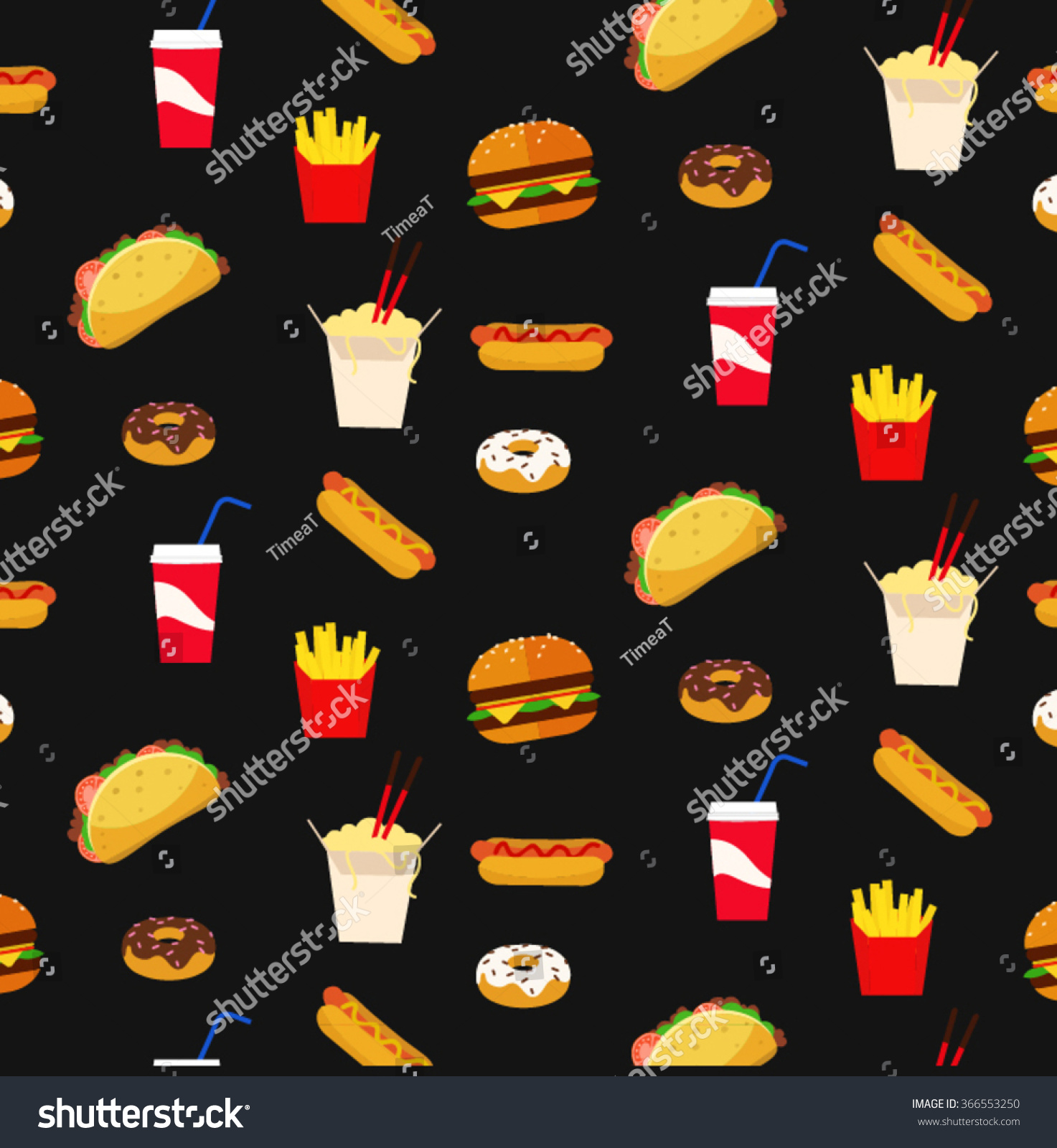 colorful fresh flat design fast food stock vector