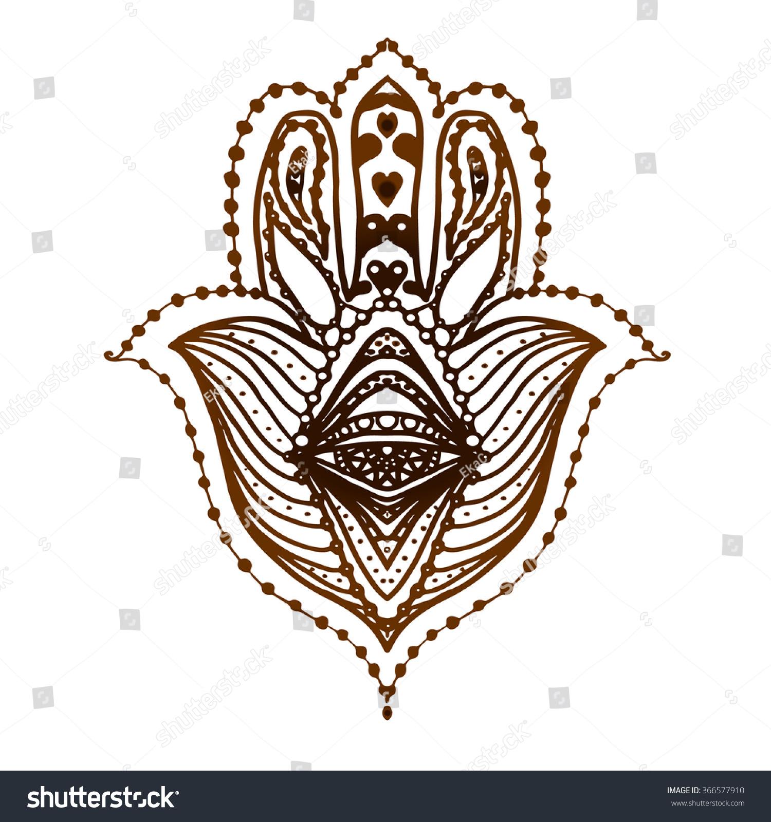 Hamsa Hand Henna Tattoo Fatima Hand Stock Vector Royalty Free