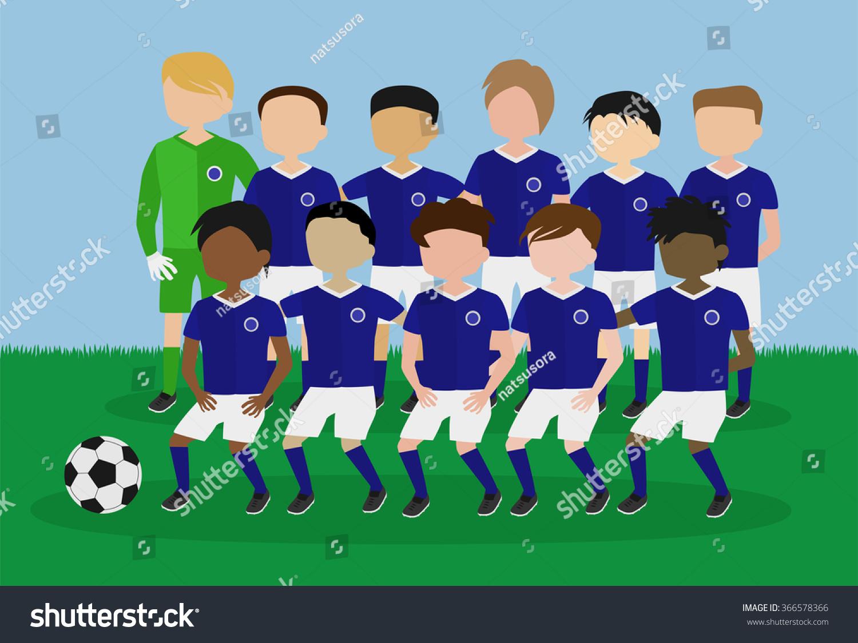 Girls soccer team cartoon
