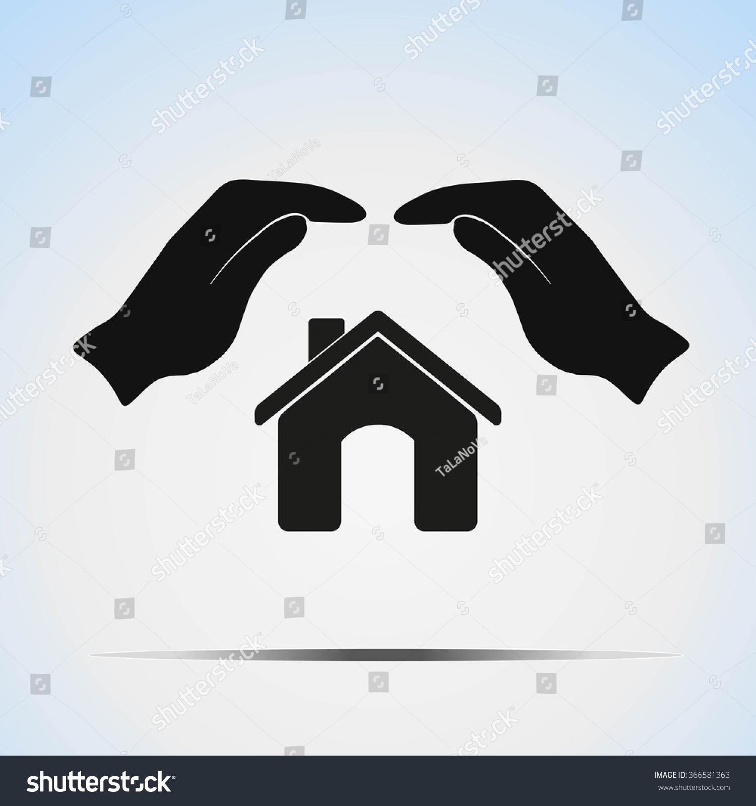 Two Hands On Top House Symbol Stock Vector Hd Royalty Free