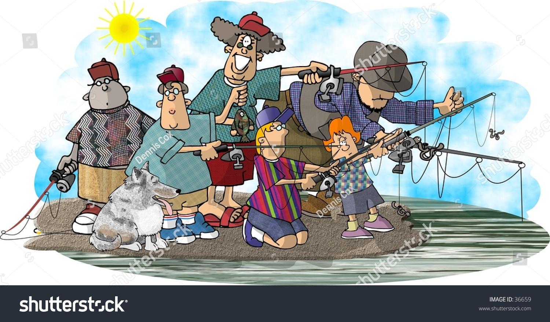 Clipart Illustration Group Fishermen Stock Illustration 36659 ...