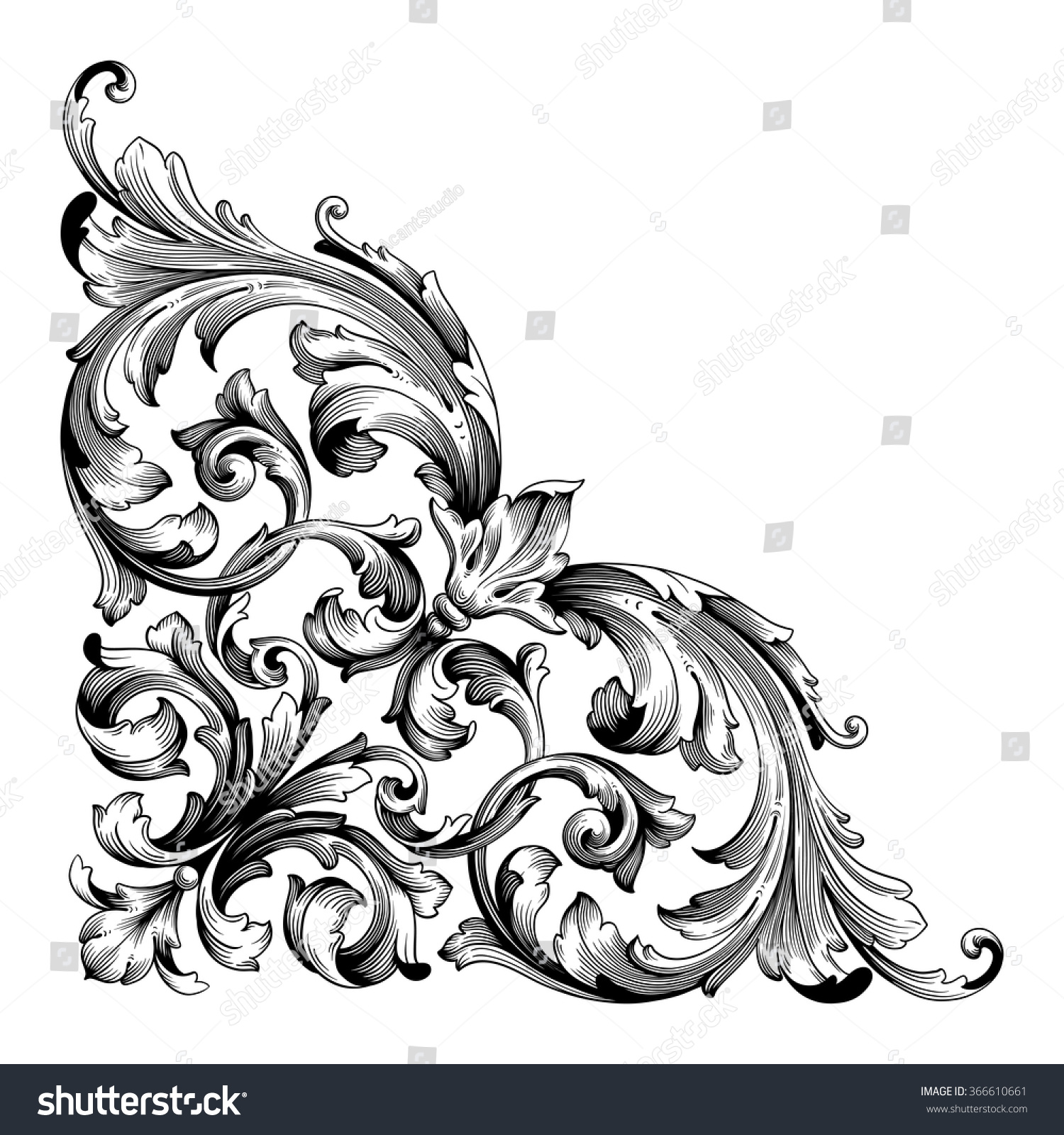 Vintage baroque frame scroll ornament engraving border floral retro pattern antique style acanthus foliage swirl decorative design element filigree calligraphy vector Damask style