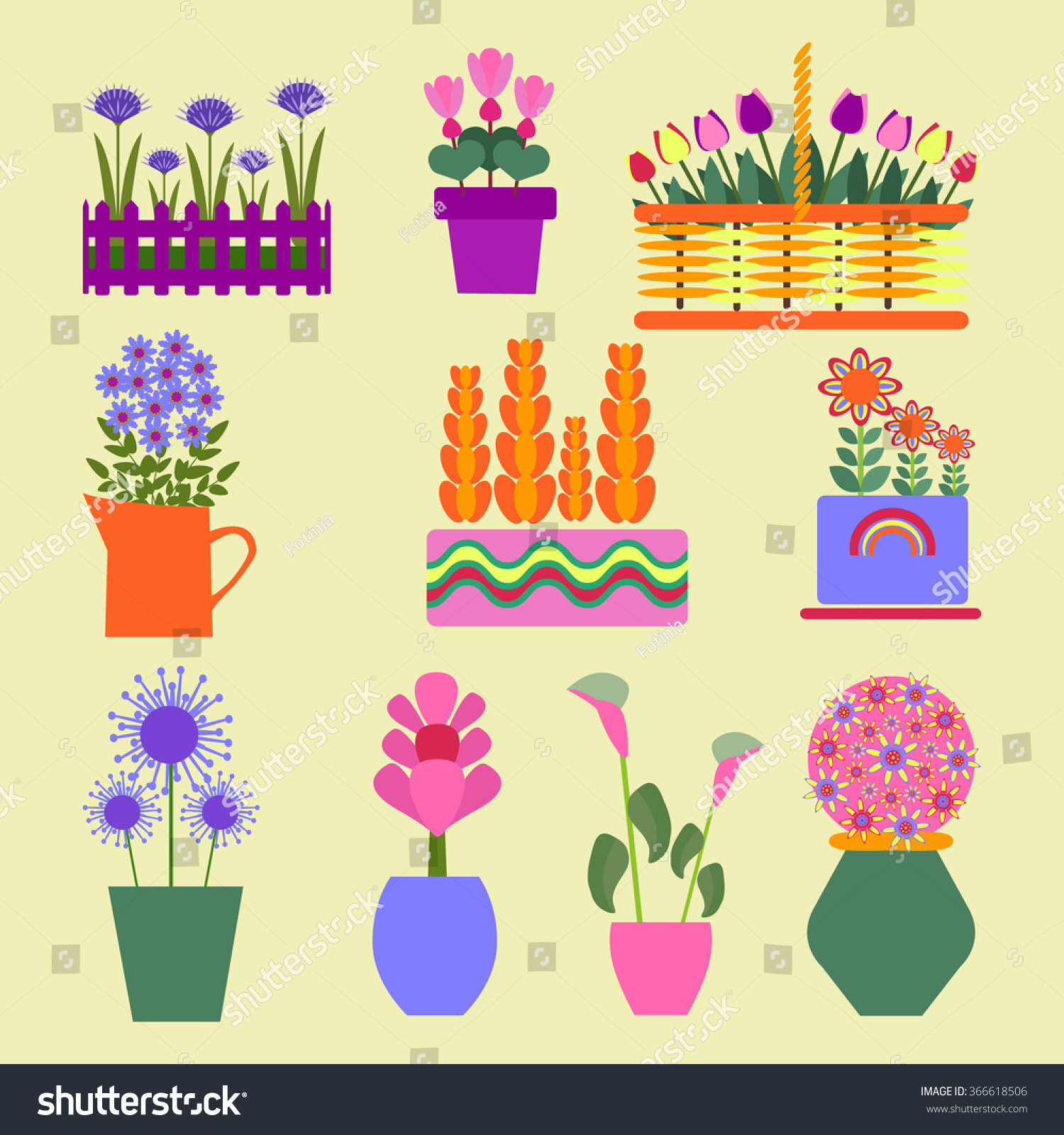 Plants for spring and summer - Garden Plants Spring And Summer Vector Flat Illustrations Set Icons For