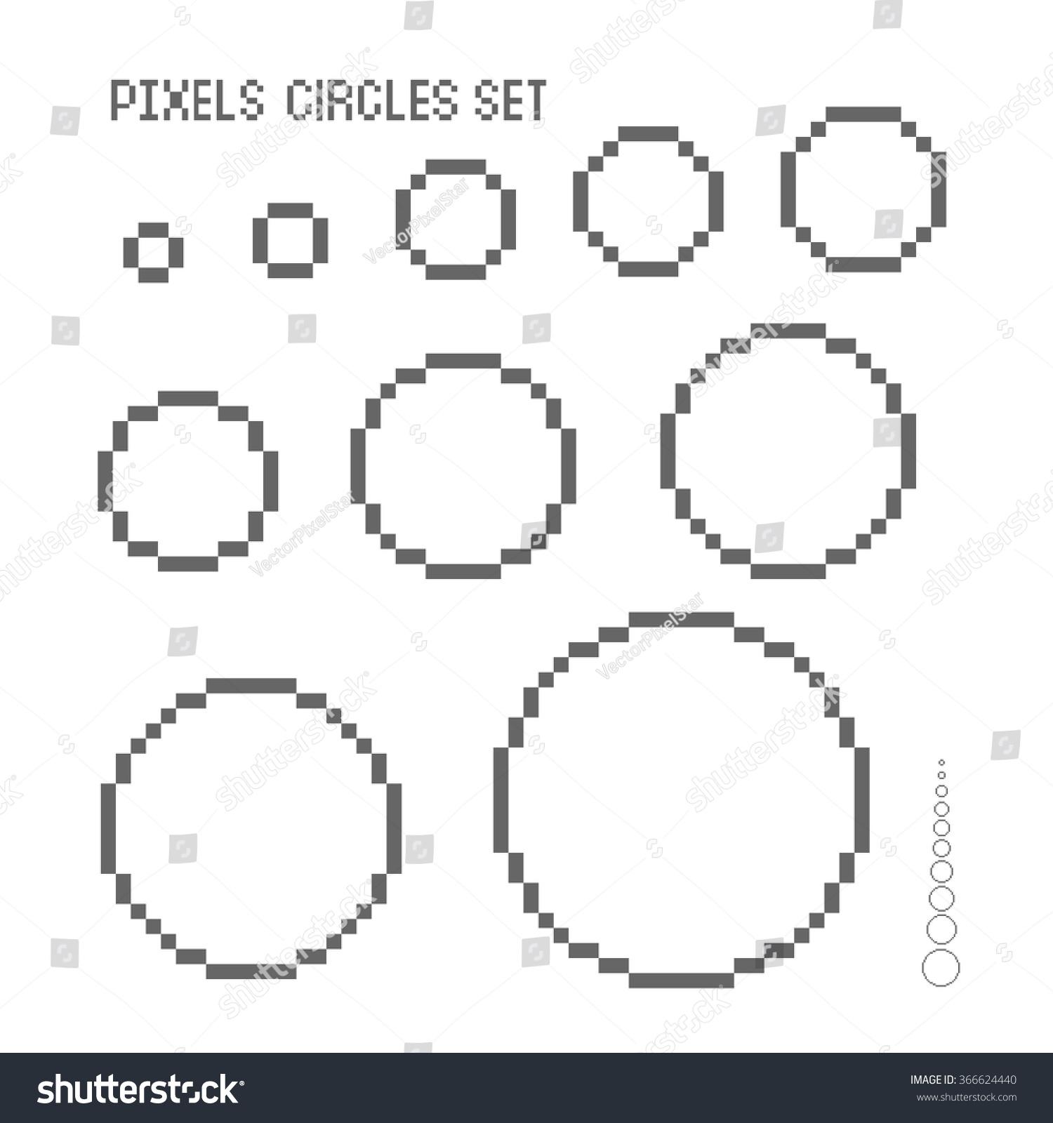 vector pixel circles set stock vector royalty free 366624440