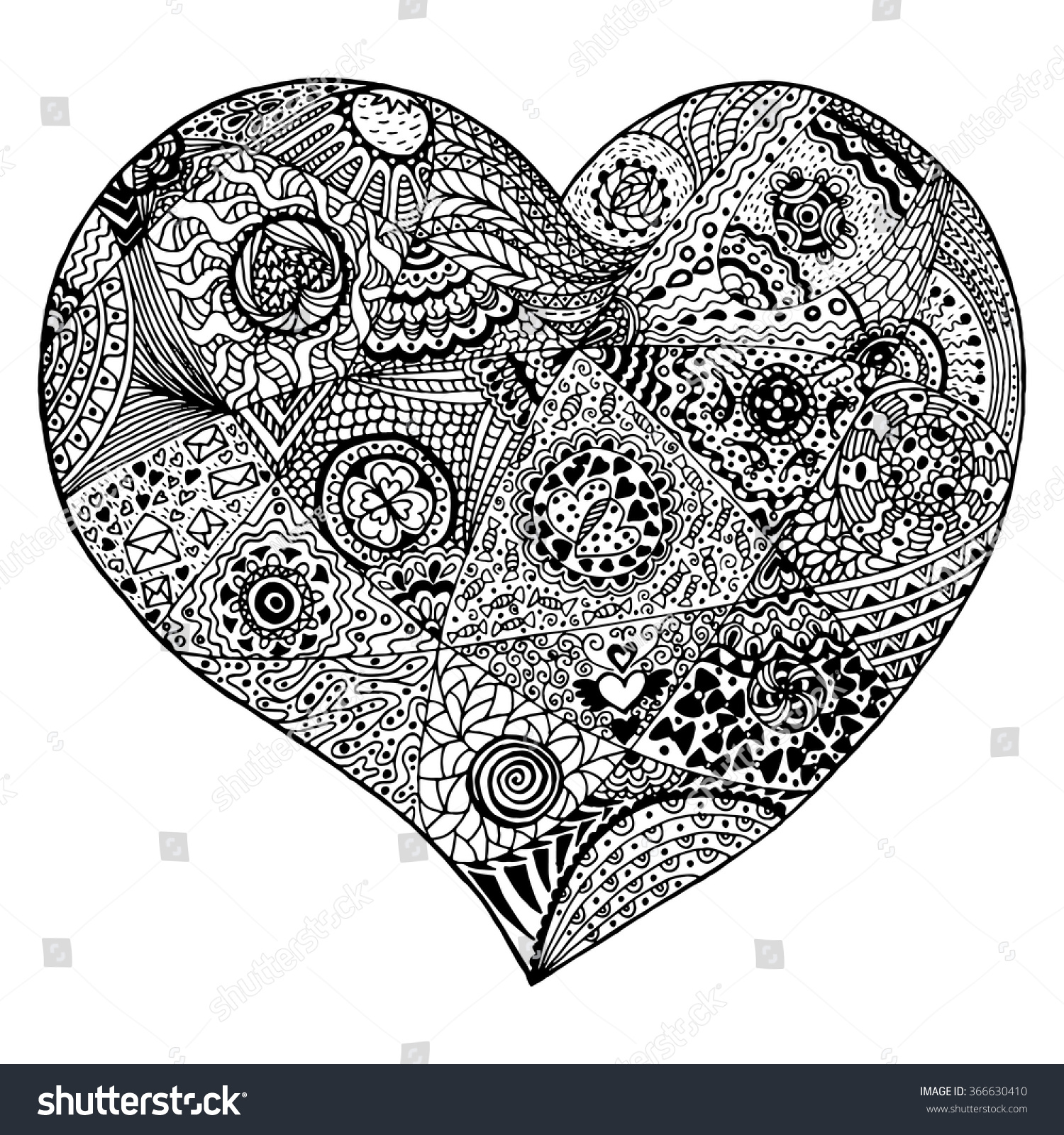 Anti stress coloring therapy - Zentangle Heart For Adult Anti Stress Coloring Page For Art Therapy Illustration In Doodle Style