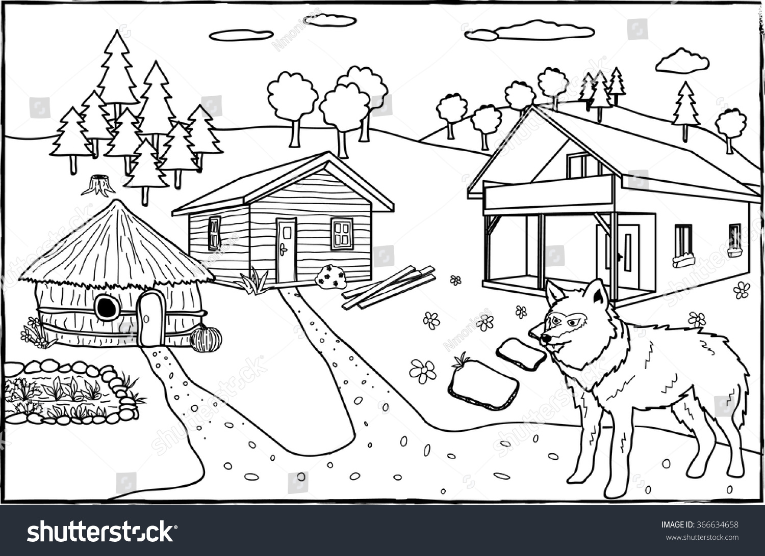 coloring page three little pigs stock vector 366634658 shutterstock