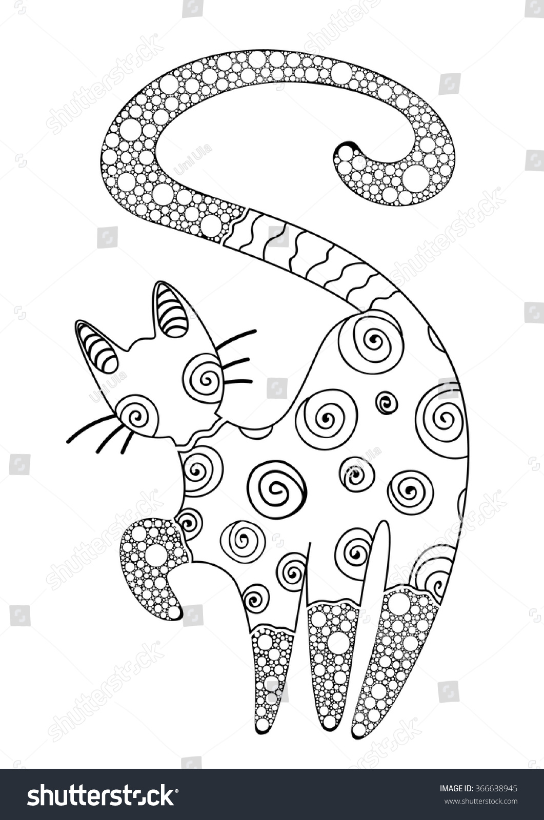 Coloring Book Adults Page Cat Decorative Stock Vector 366638945