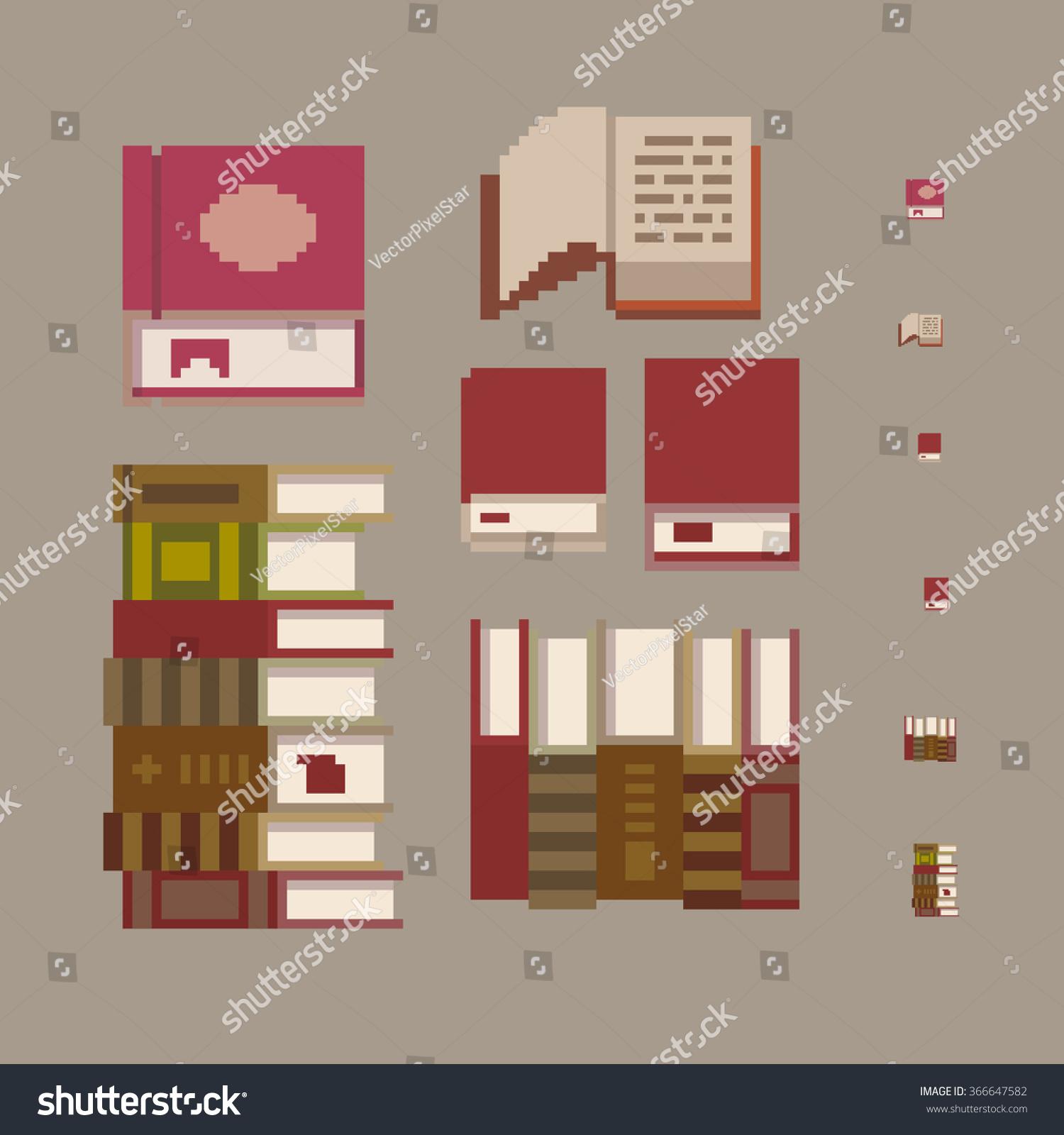 Amazing Pixel Art Book Set Isolated On Grey Background, 8 Bit Game Graphics Style  Vector Illustration