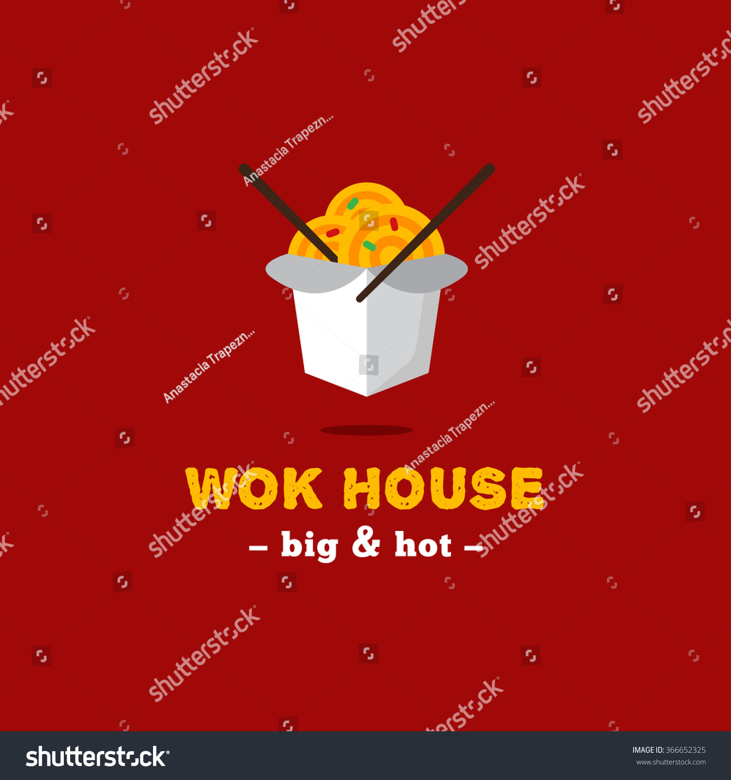 Vector De Stock Libre De Regalias Sobre Vector Bright Asian Wok Box Chineese366652325