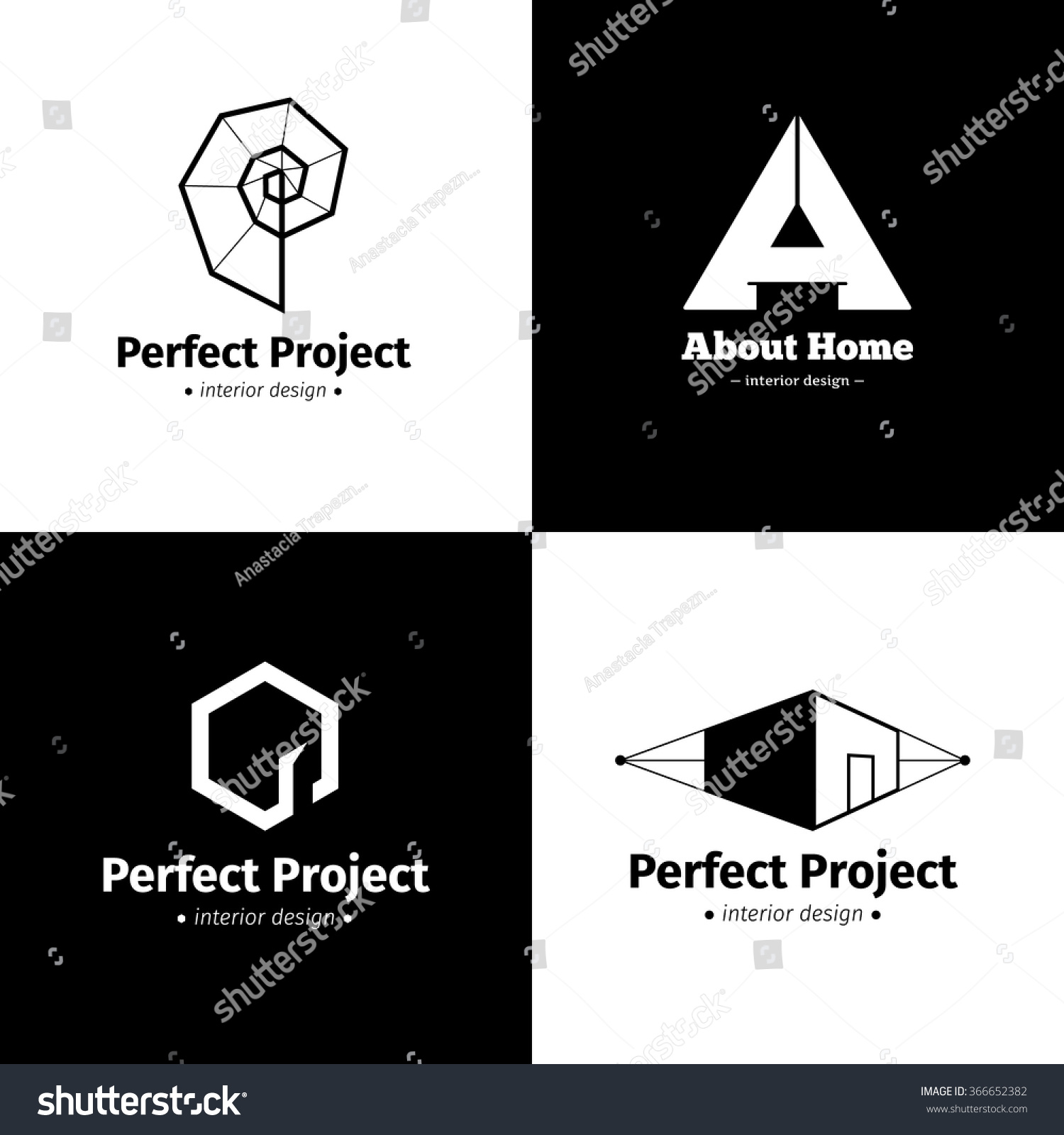 Vector Set Of Four Minimalistic Interior Design Studio Logos Black And White Creative Logotypes