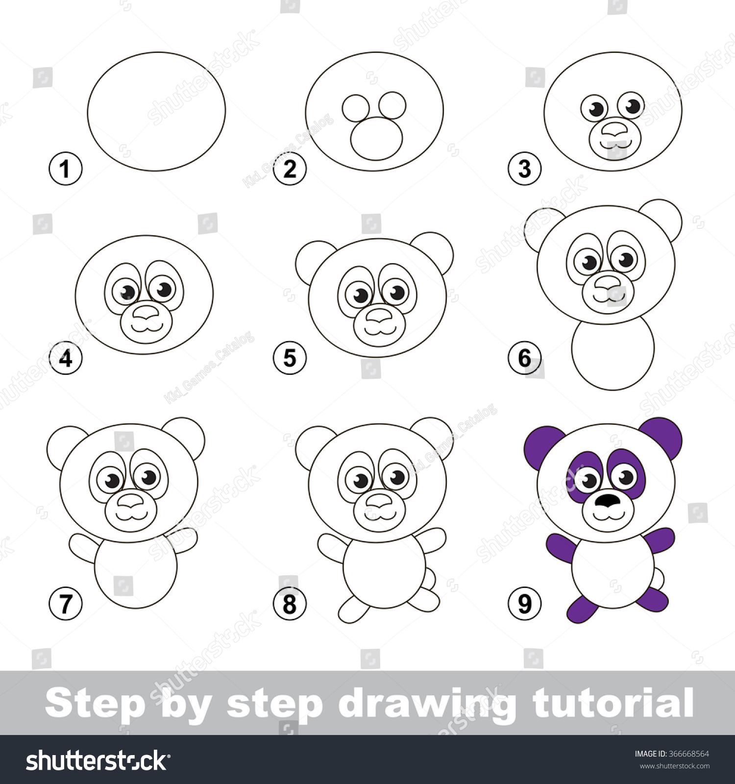 Step by step drawing tutorial visual stock vector for How to make cartoon drawings step by step