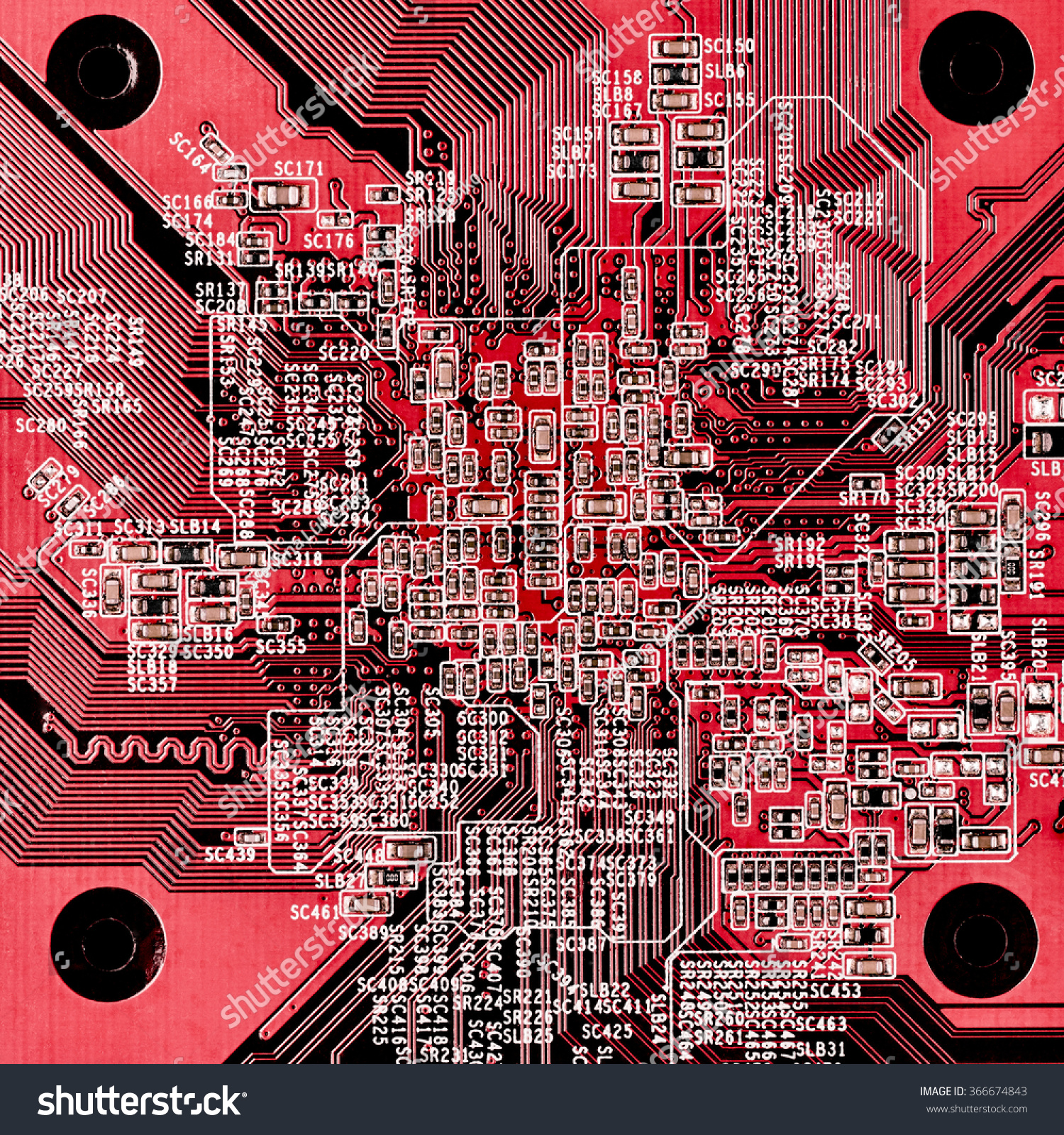 Closeup Red Circuit Board Top View Stock Photo Edit Now 366674843 Old Electronic Royalty Free Image Close Up Of Point