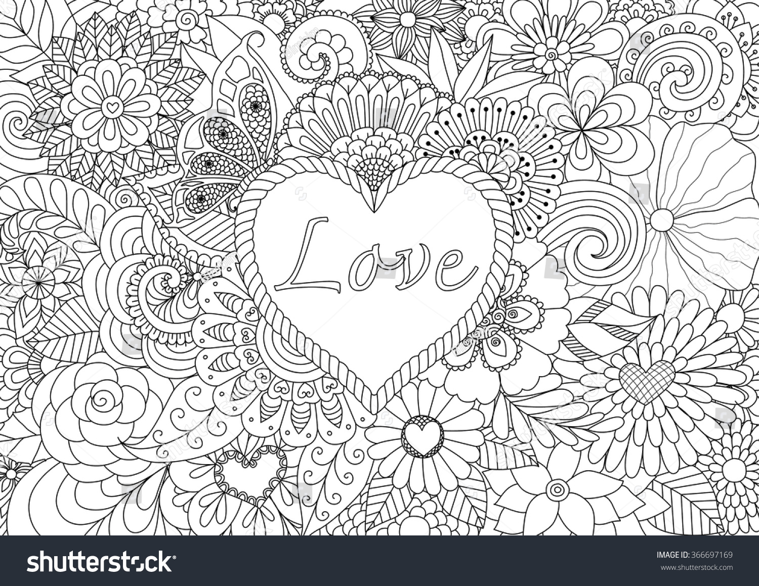 heart on flowers coloring books adult stock vector 366697169