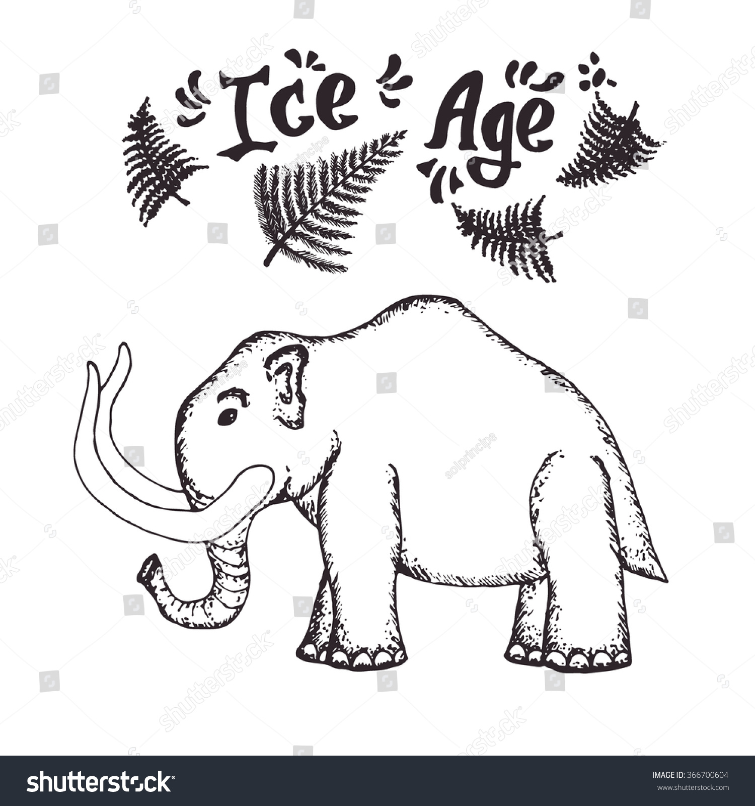Illustration Hand Drawn Mammoth Ice Age Stock Vector (Royalty Free ...