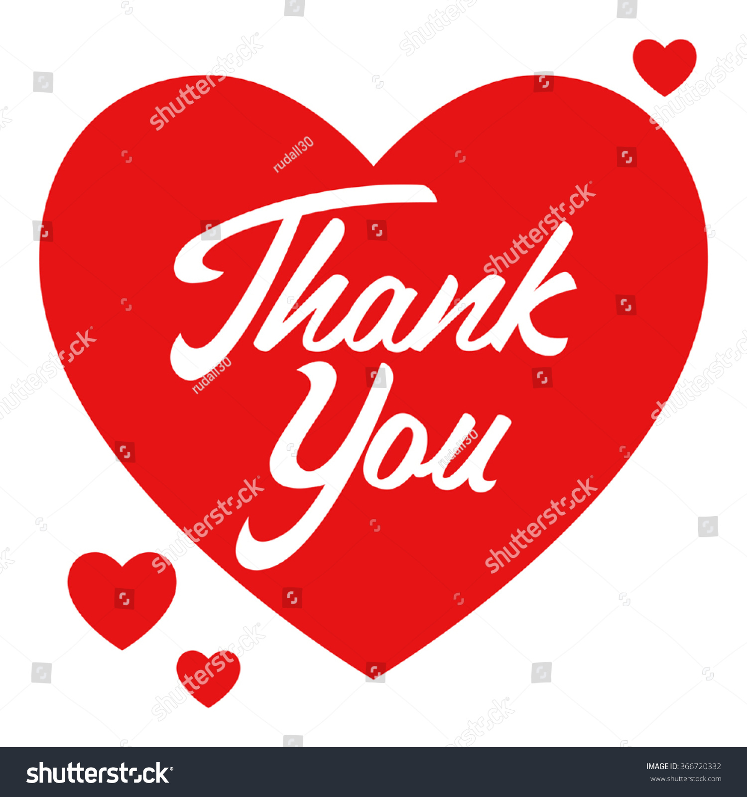 Simple Graphic Of A Heart Symbol With Thank You Hand Lettering Ez