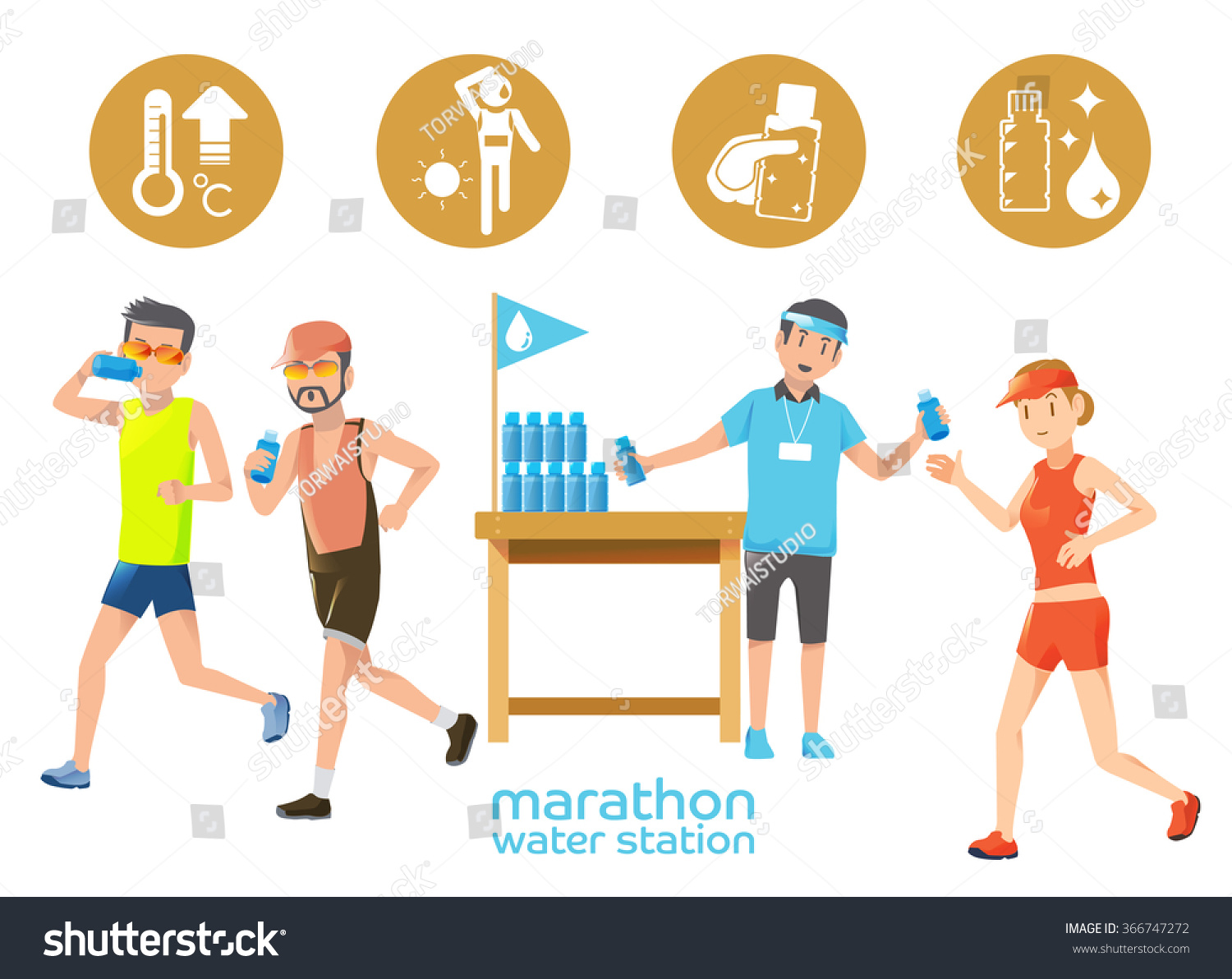 Marathon Icons Water Station Thirsty Hot Stock Vector 366747272 ...