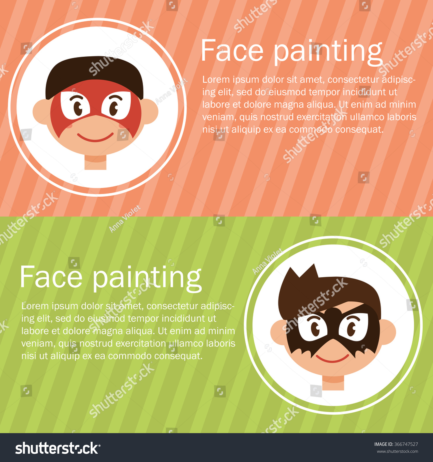 Face Painting Vector Isolated Illustration Cartoon Stock Vector