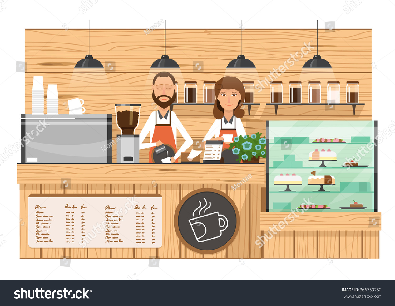 Wooden Coffee Bar Coffee Shop Counter Vector Illustration