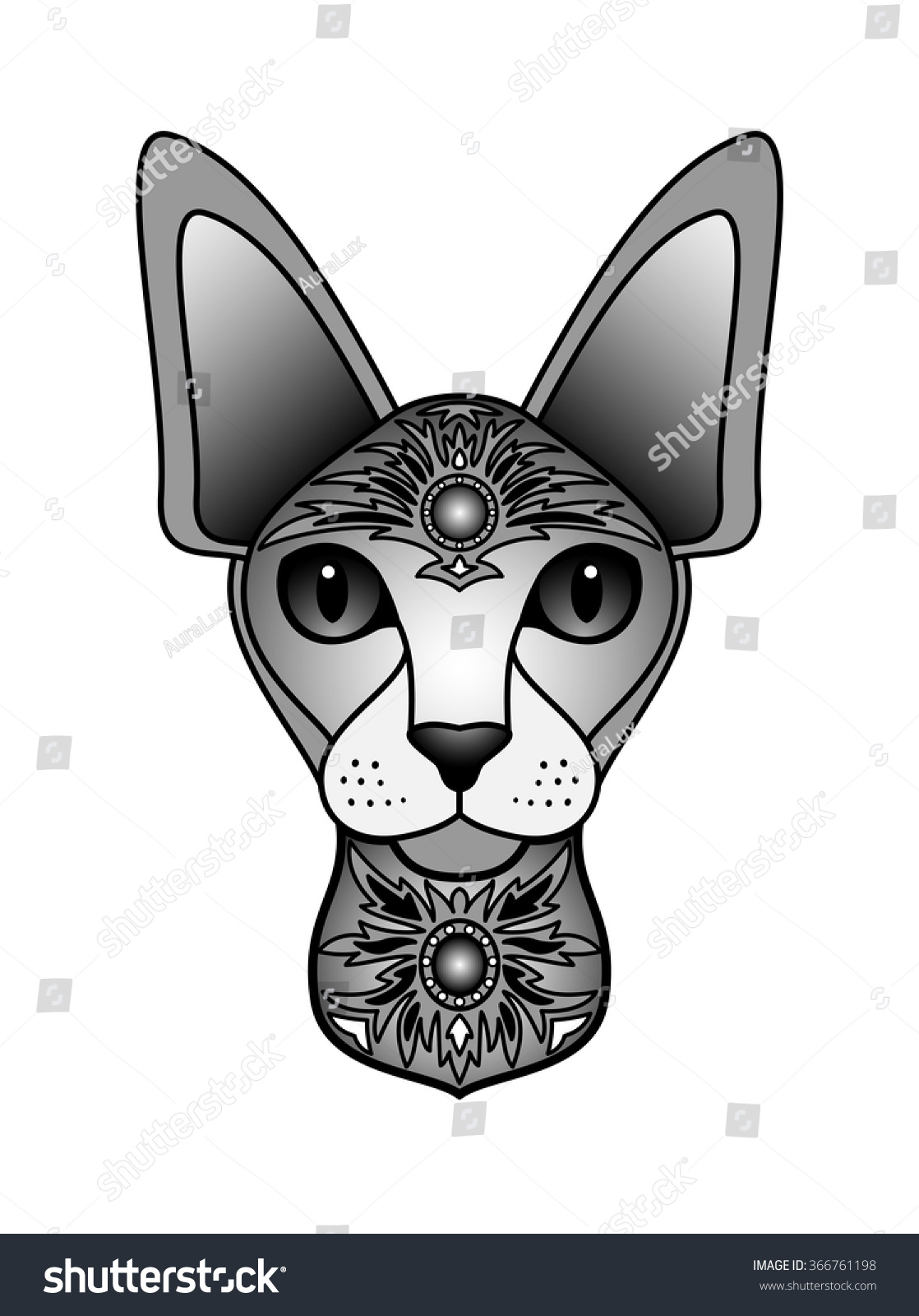 Ornamental Black Cat Vector Illustration Abstract Stock Vector