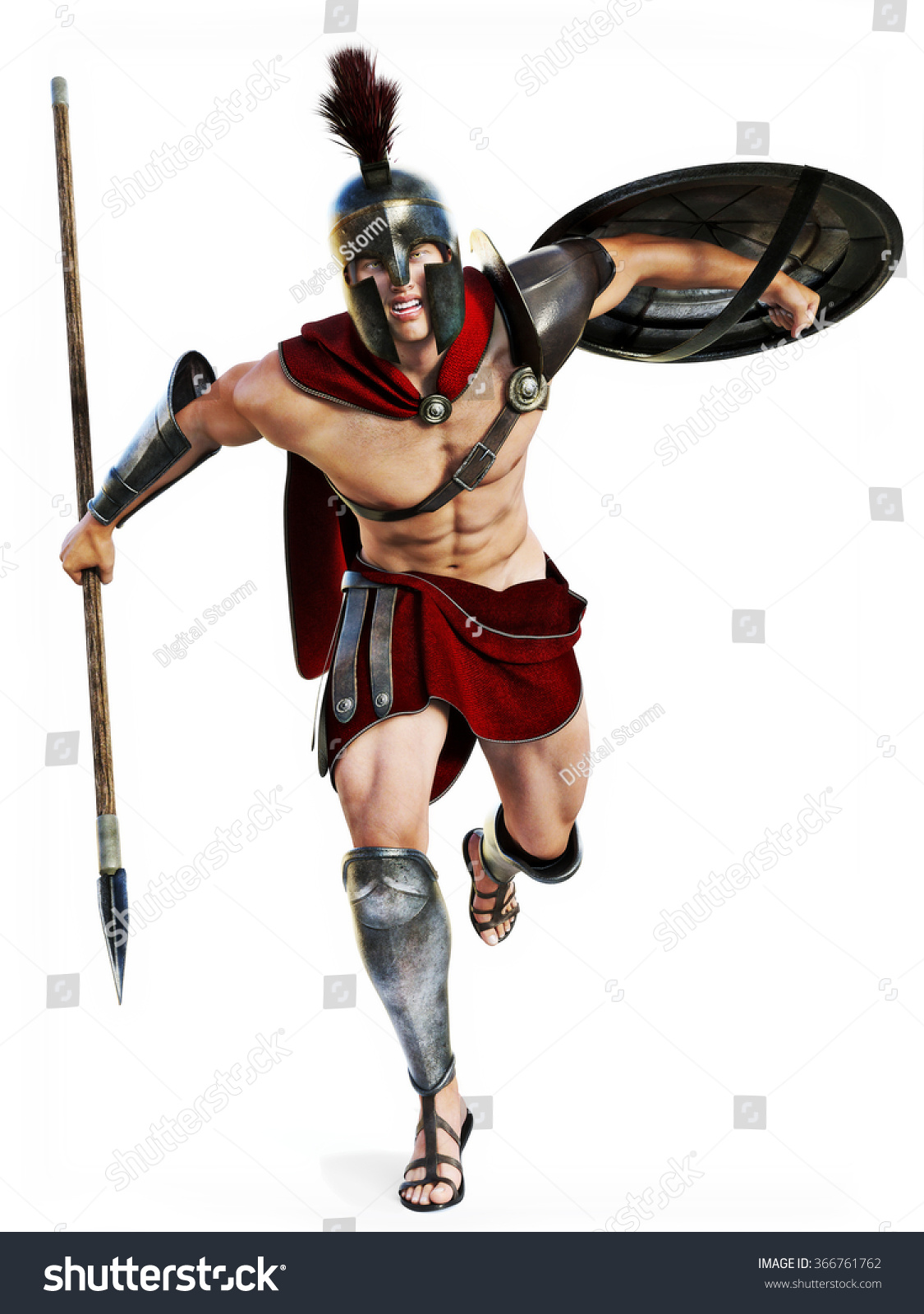 Spartan Charge Full Length Illustration Of A Spartan