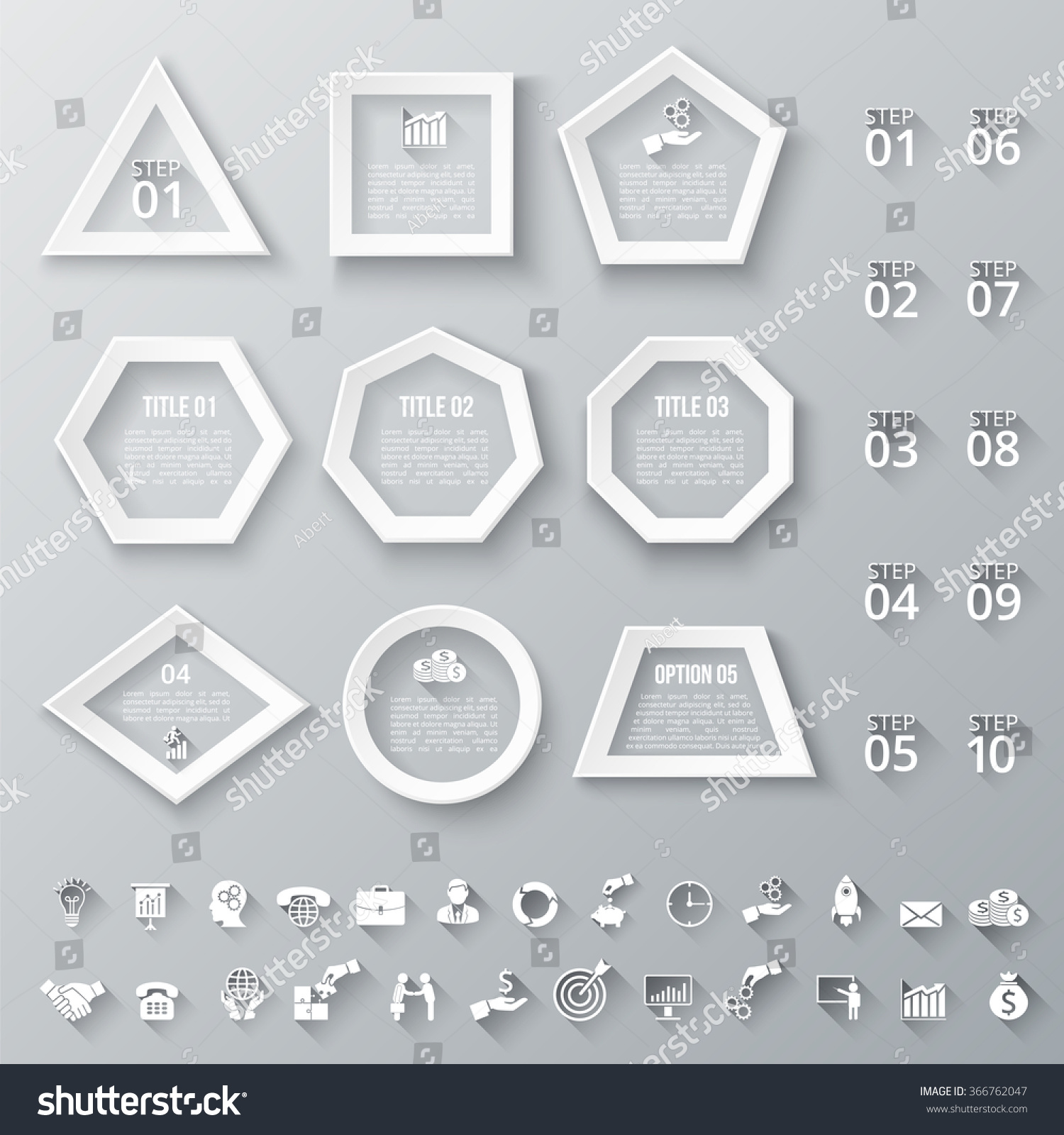 Set Geometric Shapes Infographic Template Diagram Stock Vector ...