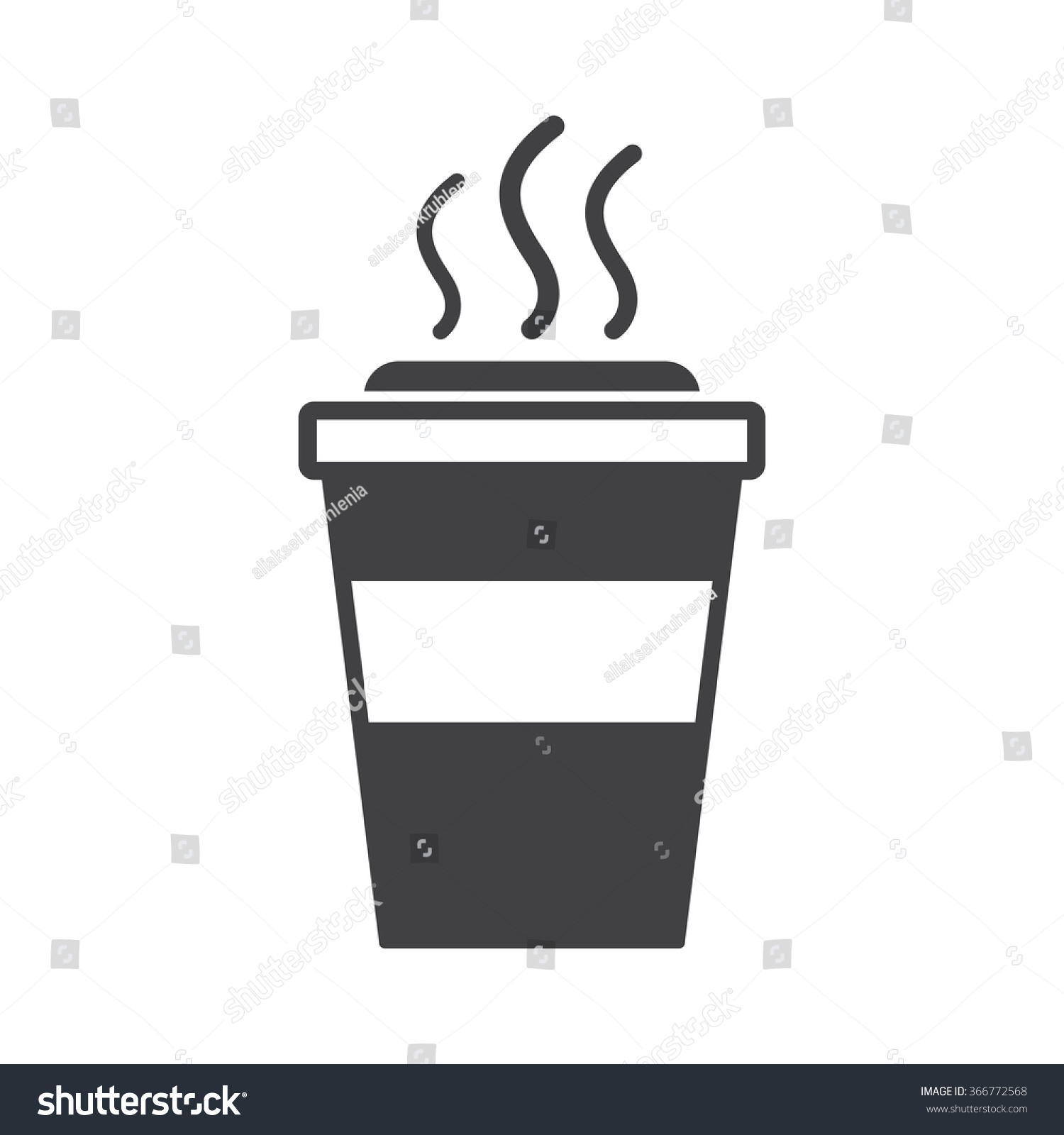 Takeaway Paper Coffee Cup Icon Black Stock Vector
