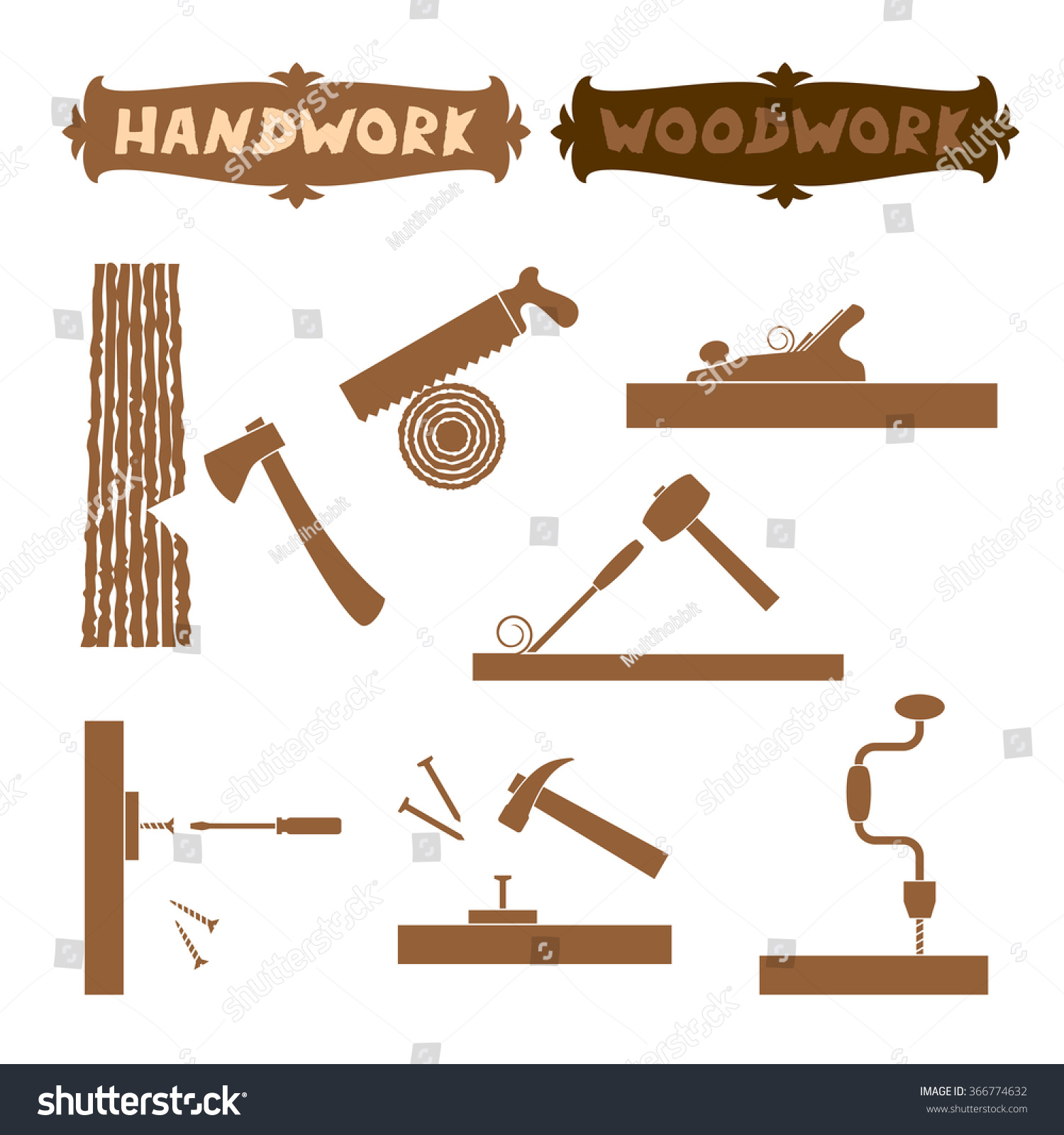 Vector Illustration Wood Work Hand Tools Stock Vector Royalty Free