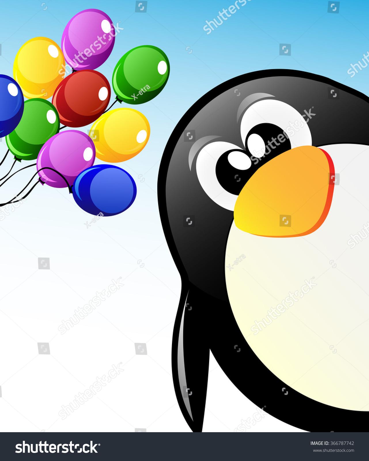 Vector Cute Cartoon Penguin On Ice Stock Vector 366787742