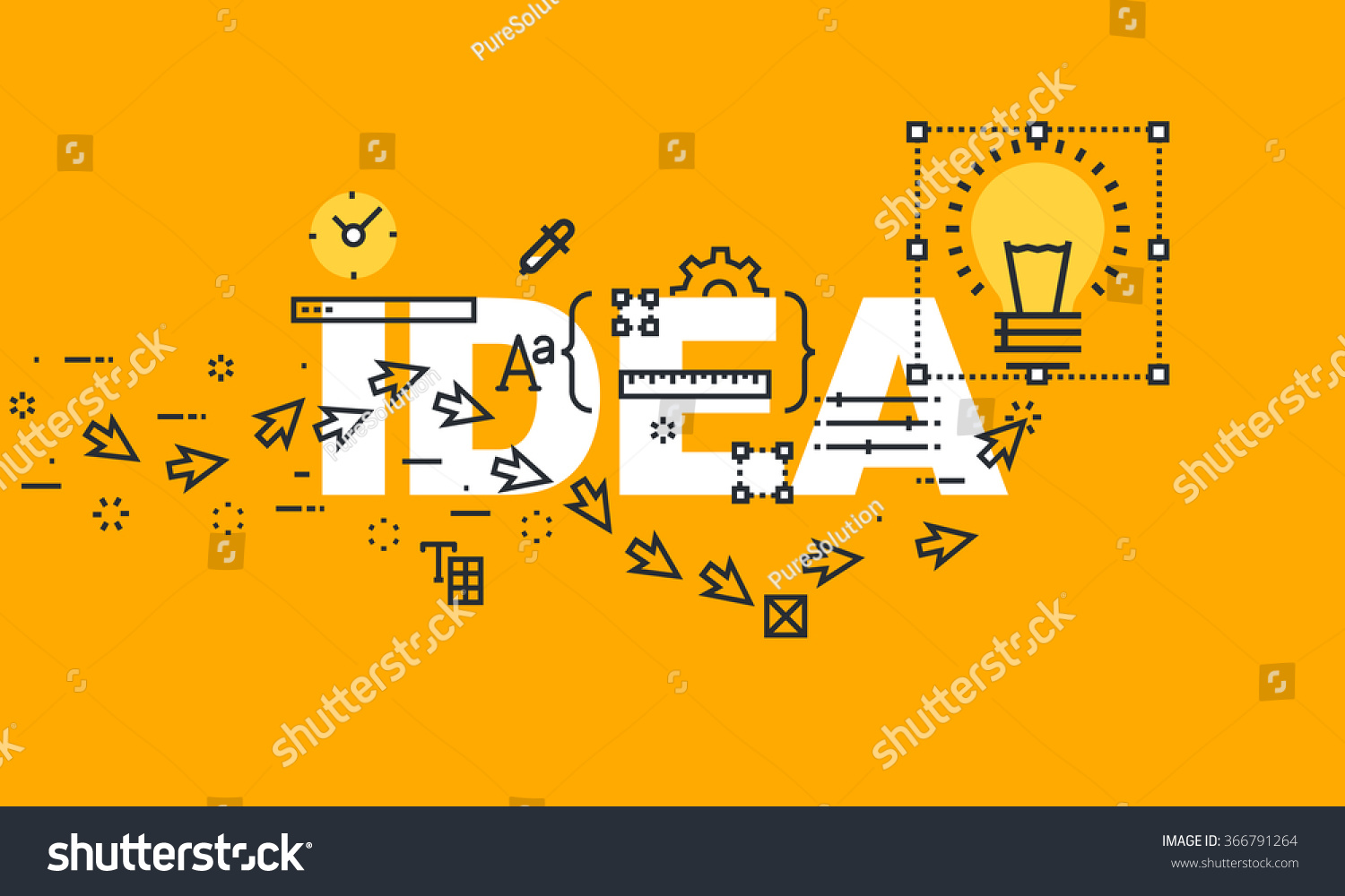 thin line flat design banner of creative ideas great business ideas and opportunities vector