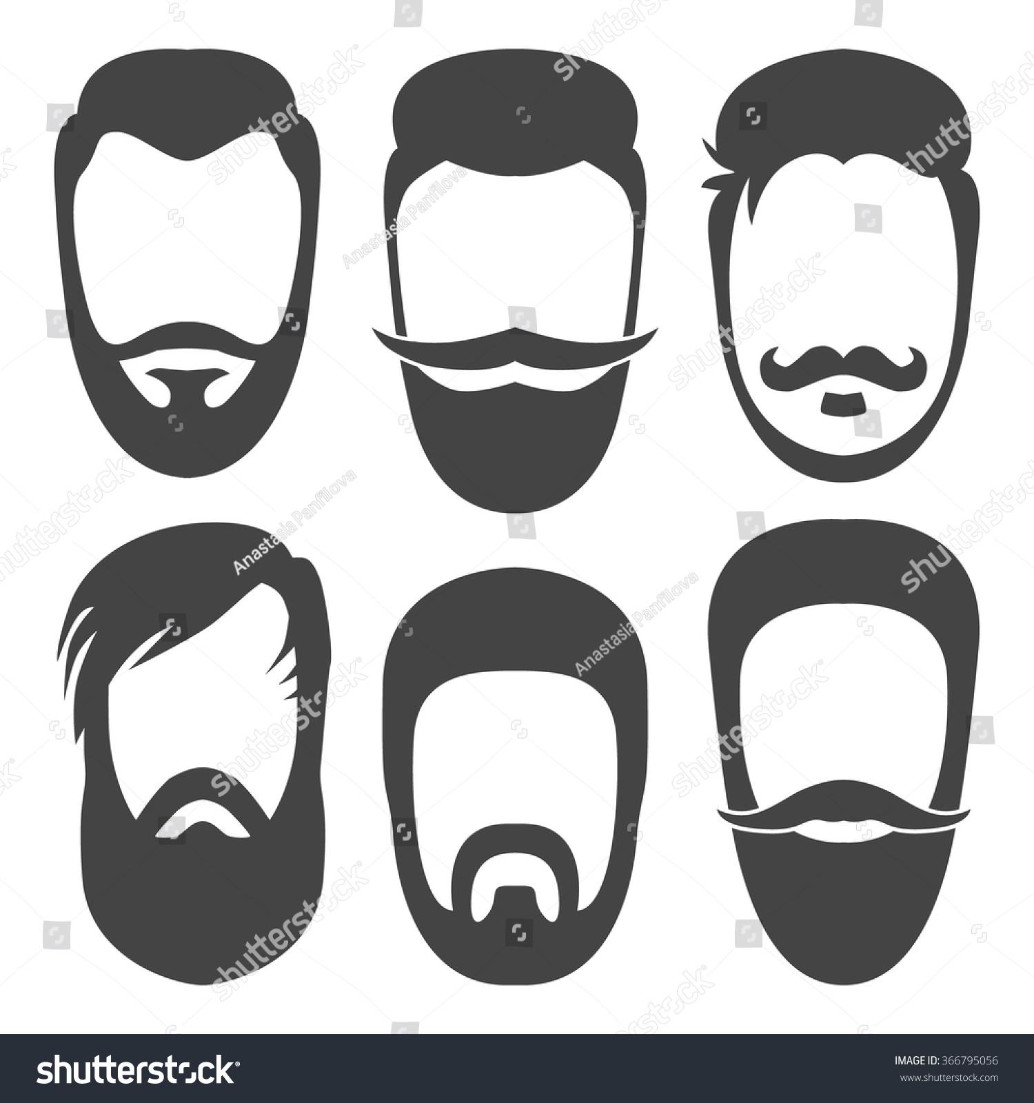Vector Hipster Beard Mustache Hair Style Stock Vector ...