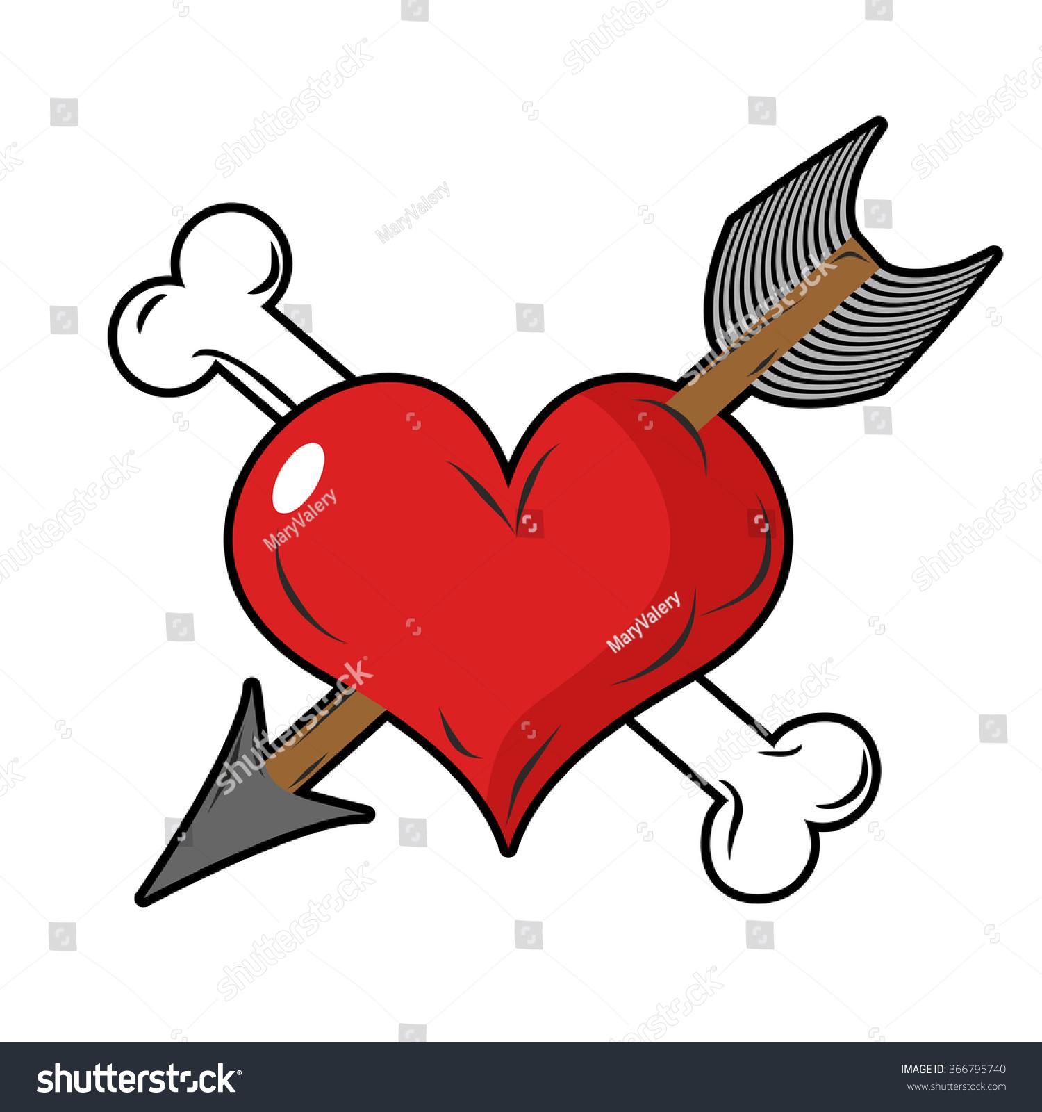 Heart Arrow Symbol Love Bone Heart Stock Vector Royalty Free