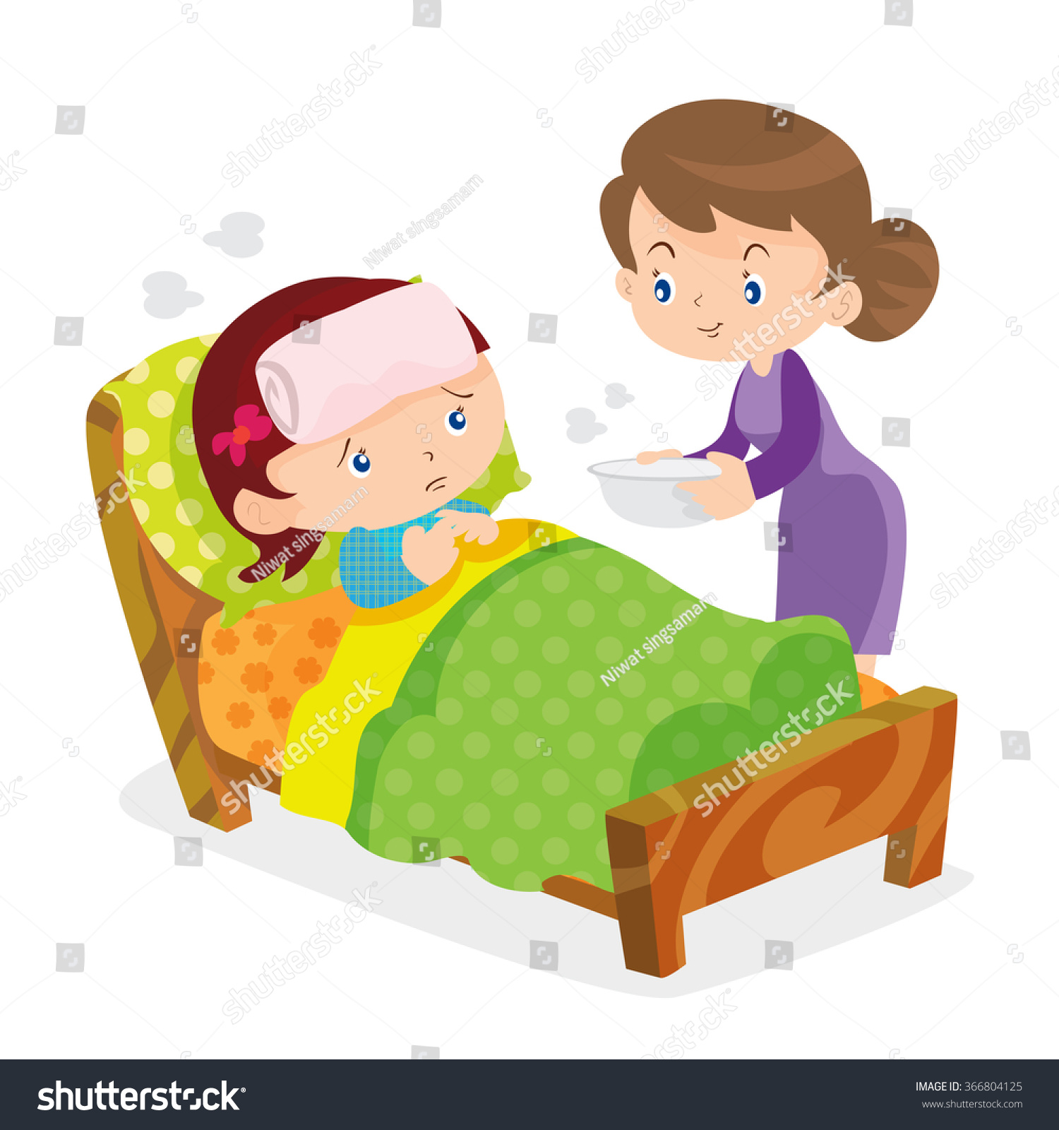 Bedroom Mom Hd Porn: Mother Taking Temperature Sick Daughter Home Stock Vector