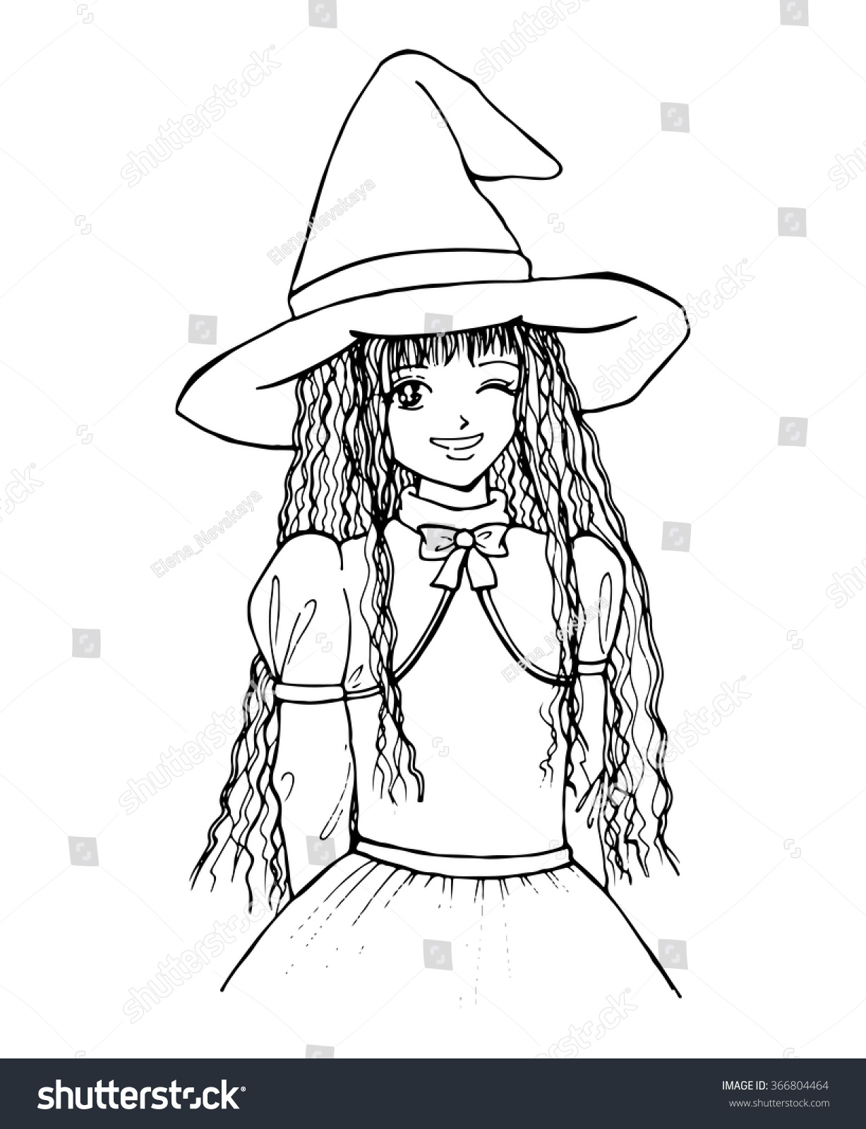 Witch girl monochrome black white isolated stock vector