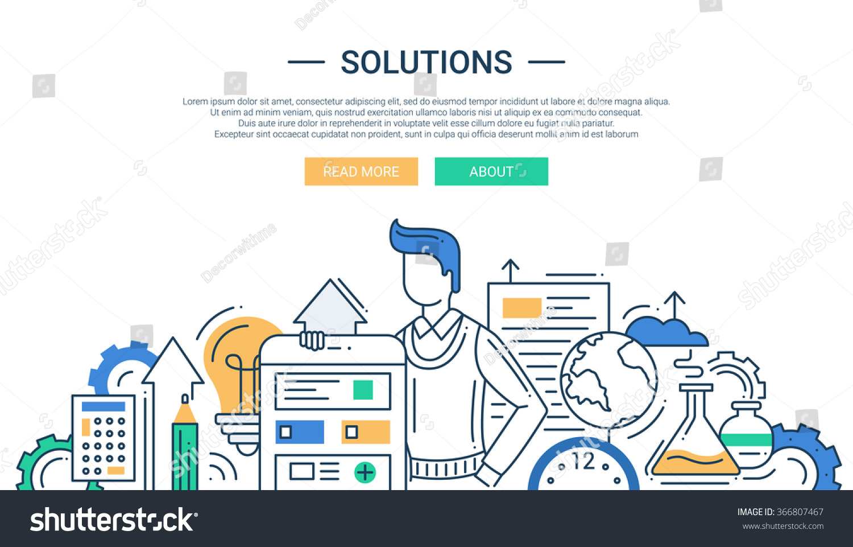 Line Design Solutions : Illustration vector modern line flat design stock