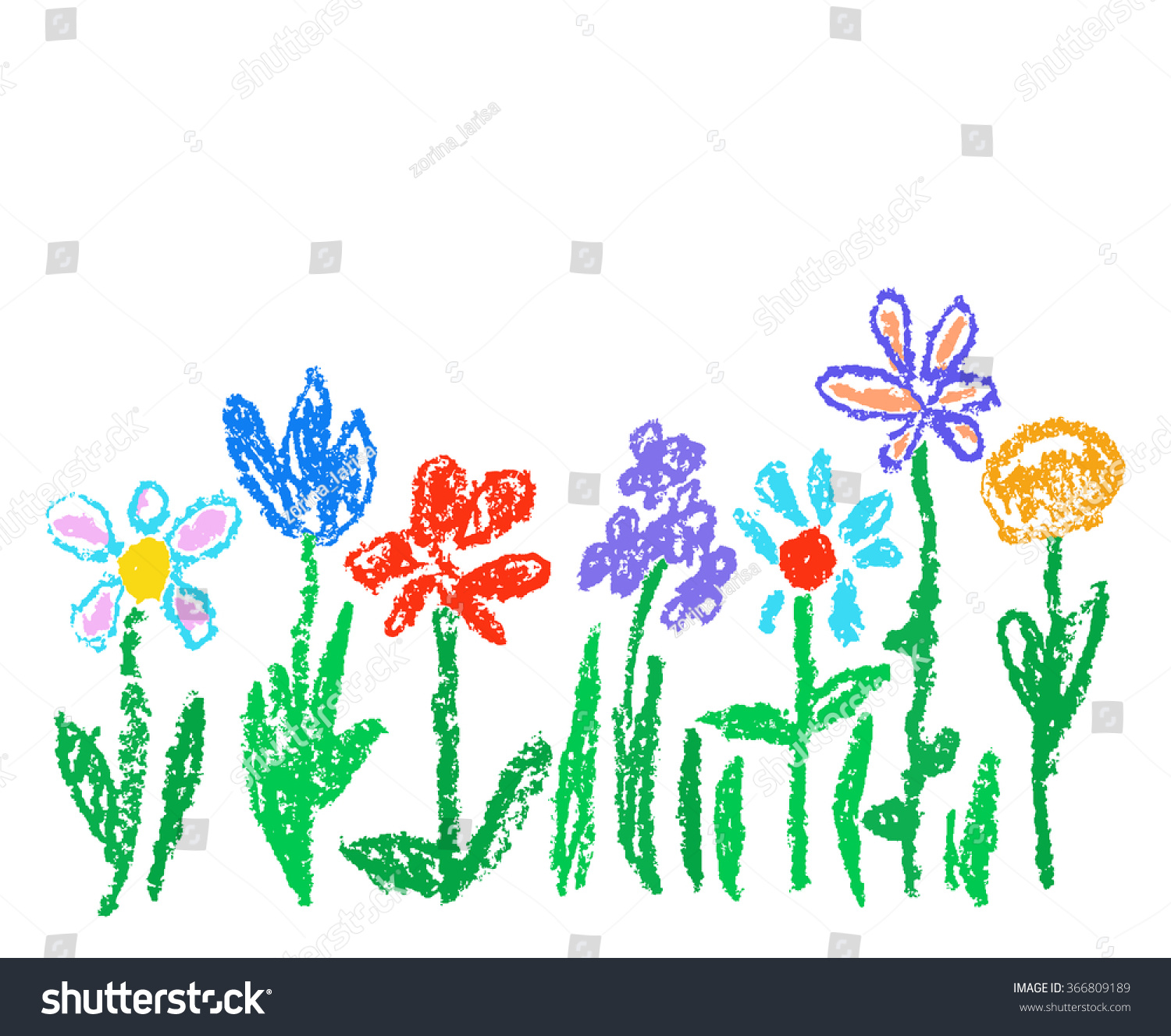 Flower Child Line Drawing : Wax crayon kid`s drawn colorful flowers isolated on white