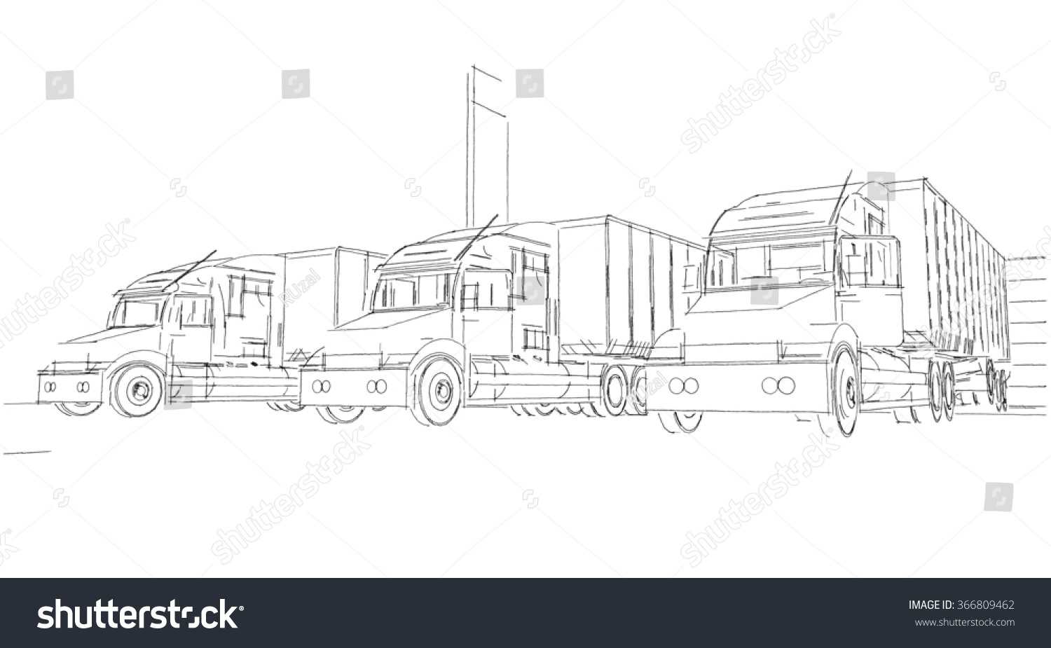Sketch Delivery Truck Lorry Stock Illustration 366809462
