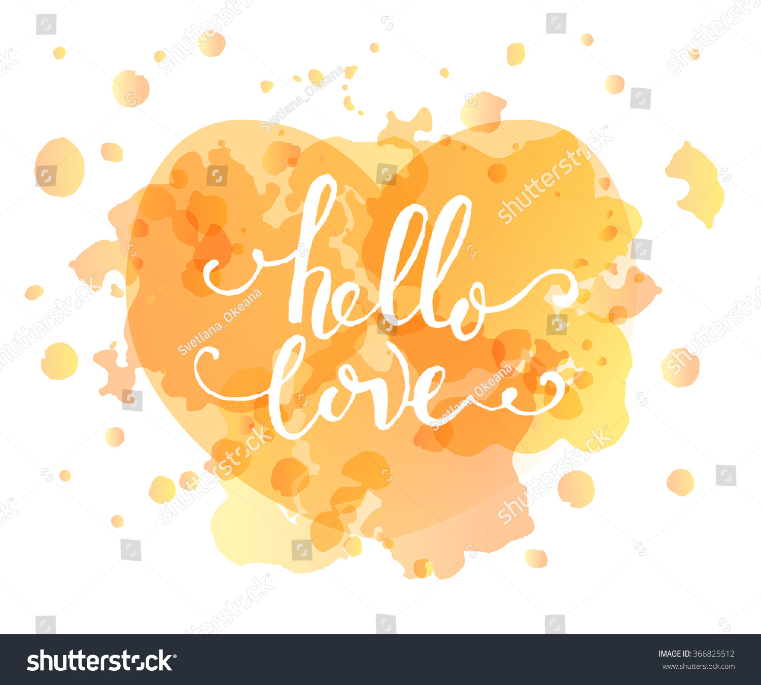 Superb Hand Sketched Hello Love Text As Happy Valentines Day Logotype, Badge And  Icon. Romantic
