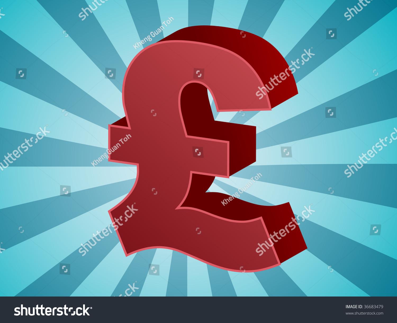 British Uk Pounds Currency Symbol Isometric Stock Illustration