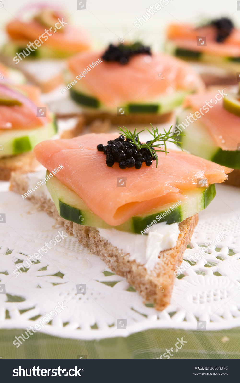 Smoked salmon canapes on rye bread stock photo 36684370 for Cream cheese canape